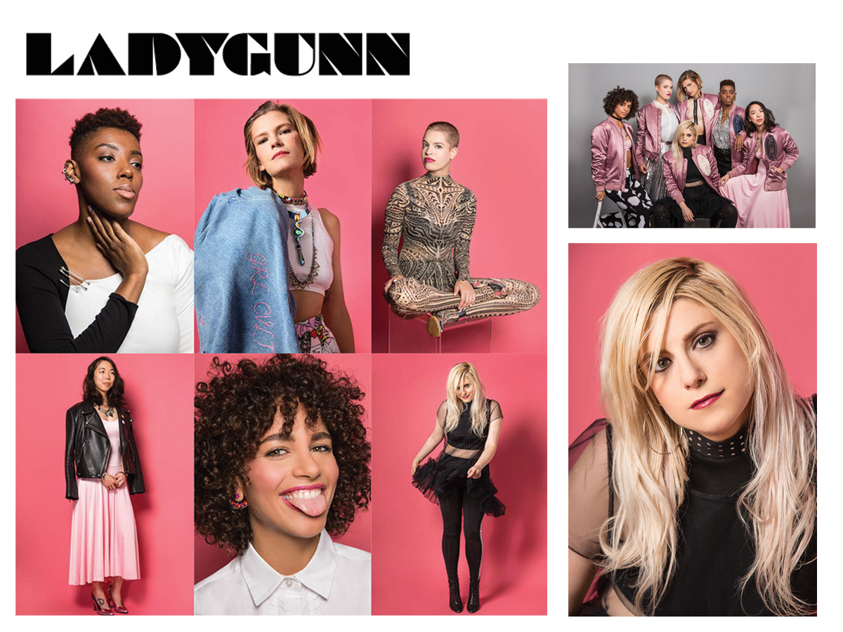 girl cvlt ladygunn magazine interview feature activist feminists the future is female pink bright pink pussy power kelsey randall black tulle babydoll sheer cloud dress red lipstick black tights pointy boots crop top white collared shirt buttondown leather jacket metallic tribal tattoo illusion lace sheer embroidered floral bodysuit gold lurex metal large silver safety pins pink bomber jacket  made-to-measure womenswear bridal custom bespoke handcrafted sustainable ethical local production manufacturing made in new york city nyc brooklyn bushwick emerging designer ones to watch new talent rising star best of american fashion young designer   story / Tiffany Diane Tso    photos / Jena Cumbo    styling / Shea Daspin    styling assistant / Caroline Stinger    makeup / Laura Mitchell    hair / Anike Rabiu    featuring / Tara Daniels, Alexz Graves, Ashley Hefnawy    Lane Moore, Tiffany Diane Tso, Remy Holwick