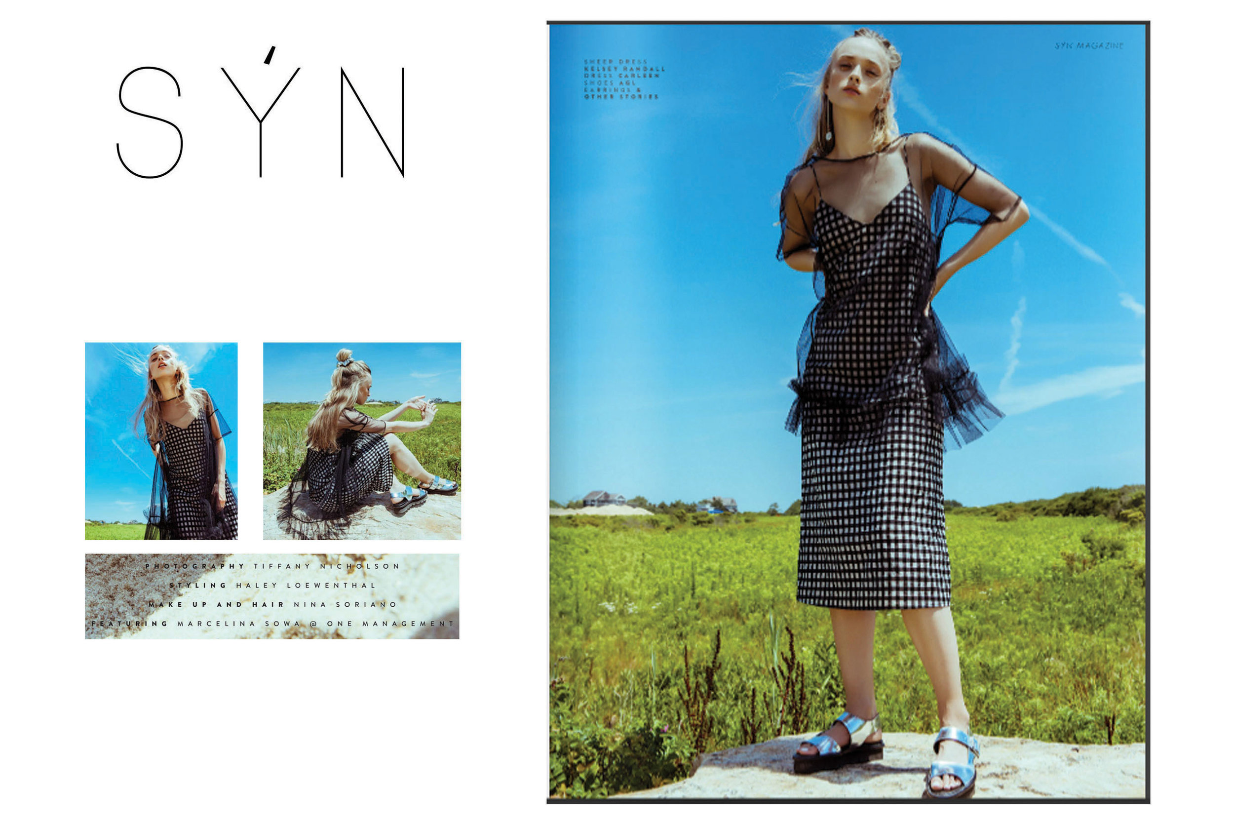 syn magazine fashion editorail feature beach grass nature rock blue skies bright sunny lush spring summer kelsey randall black tulle sheer ruffle babydoll oversized short sleeve cute see through gingham check checkered v neck shift bias cut below knee tube straight tight fitted metallic platform sandal flatform silver 90's raver goth candy goth delia's  70's style retro daywear sportswear seventies hipster cool stylist made-to-measure womenswear bridal custom bespoke handcrafted sustainable ethical local production manufacturing made in new york city nyc brooklyn bushwick emerging designer ones to watch new talent rising star best of american fashion young designer styled by haley loewenthal shot by photographer tiffany nicholson model marcelina sowa mar hair makeup mua nina soriano