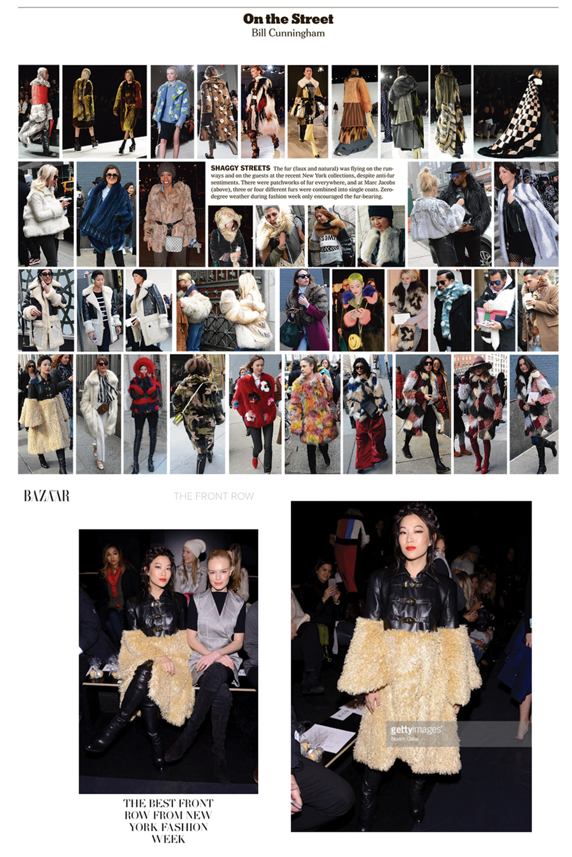 new york times nyt sunday styles bill cunningham legendary nyfw new york fashion week february street style photography icon legend documentary adren cho actress beauty red lipstick hair braid crown front row fashion show wearing kelsey randall black leather rounded shoulder faux fur coat cream camel light mongolian lamb curly warm buckle gold hardware belt strap kate bosworth  70's style retro daywear sportswear seventies hipster cool stylist made-to-measure womenswear bridal custom bespoke handcrafted sustainable ethical local production manufacturing made in new york city nyc brooklyn bushwick emerging designer ones to watch new talent rising star best of american fashion young designer