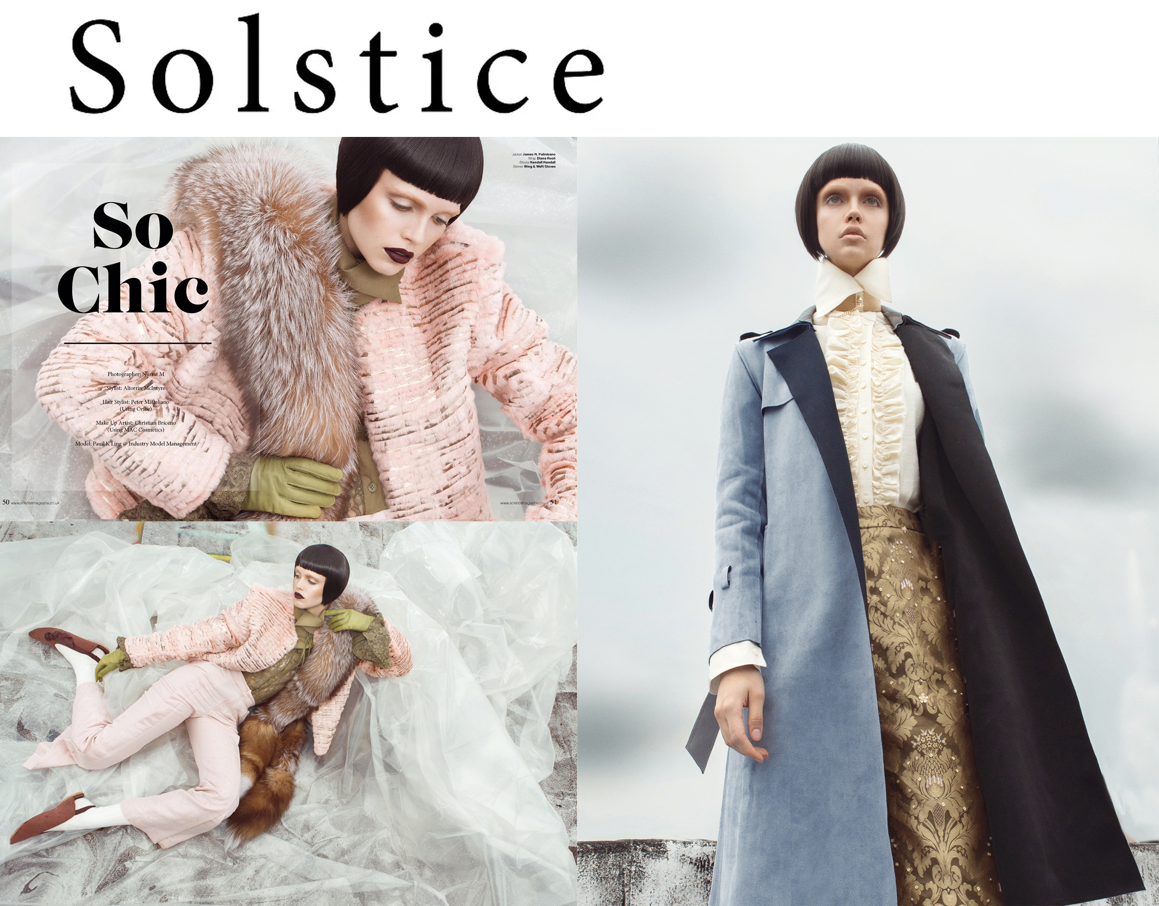 Solstice Magazine fashion editorial issue feature Kelsey Randall olive green lace blouse pink suit cream flannel ruffle button down blouse pale blue suede coat slides sleek hair boy made-to-measure luxury fashion womenswear bespoke custom made in New York City NYC Brooklyn Bushwick handcrafted luxury fashion sustainable ethical ones to watch emerging designer studio 6800 styling Altorrin makeup Christian Briceno hair Peter Matteliano model Pauli Kling the industry model management