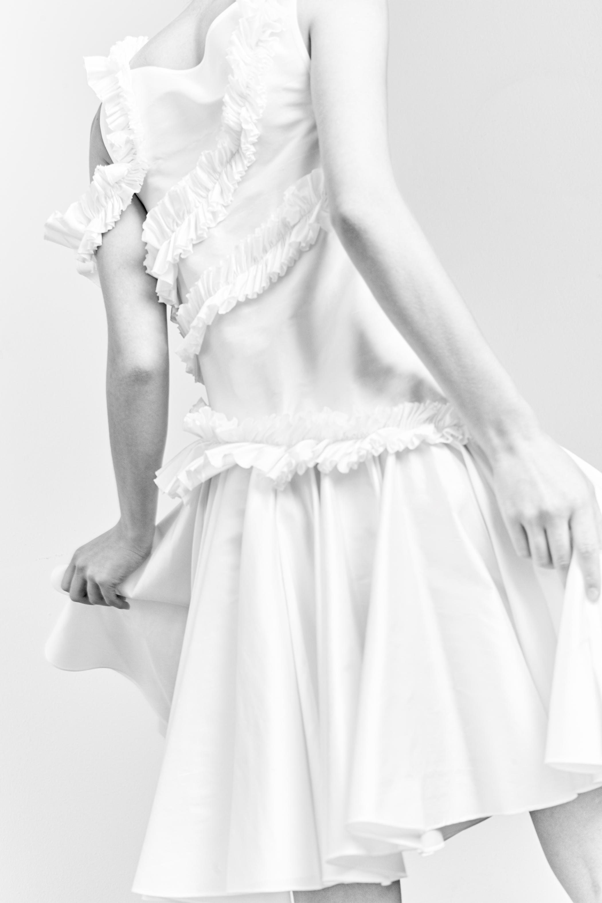 kelsey randall white silk shantung asymmetrical ruffle circle skirt cocktail party bridesmaid dress