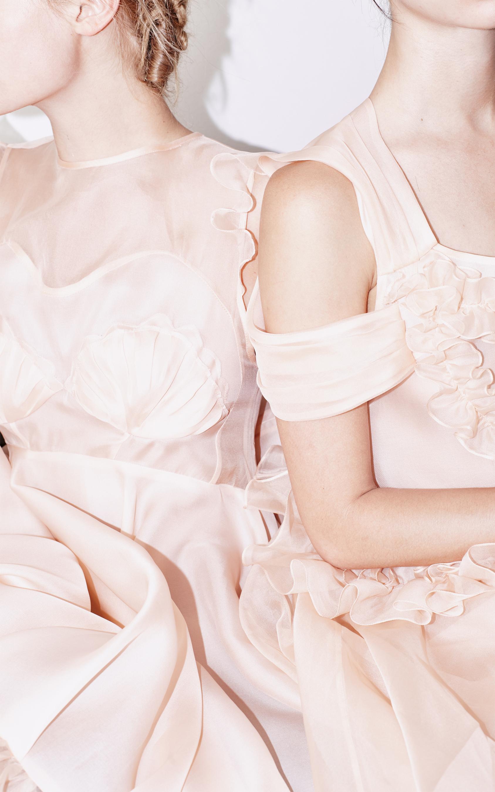 kelsey randall peach pink ballet silk organza mermaid seashell cinderella ruffle tiered flounce babydoll cute swing shoulder drape detail cute romantic sweet inspo