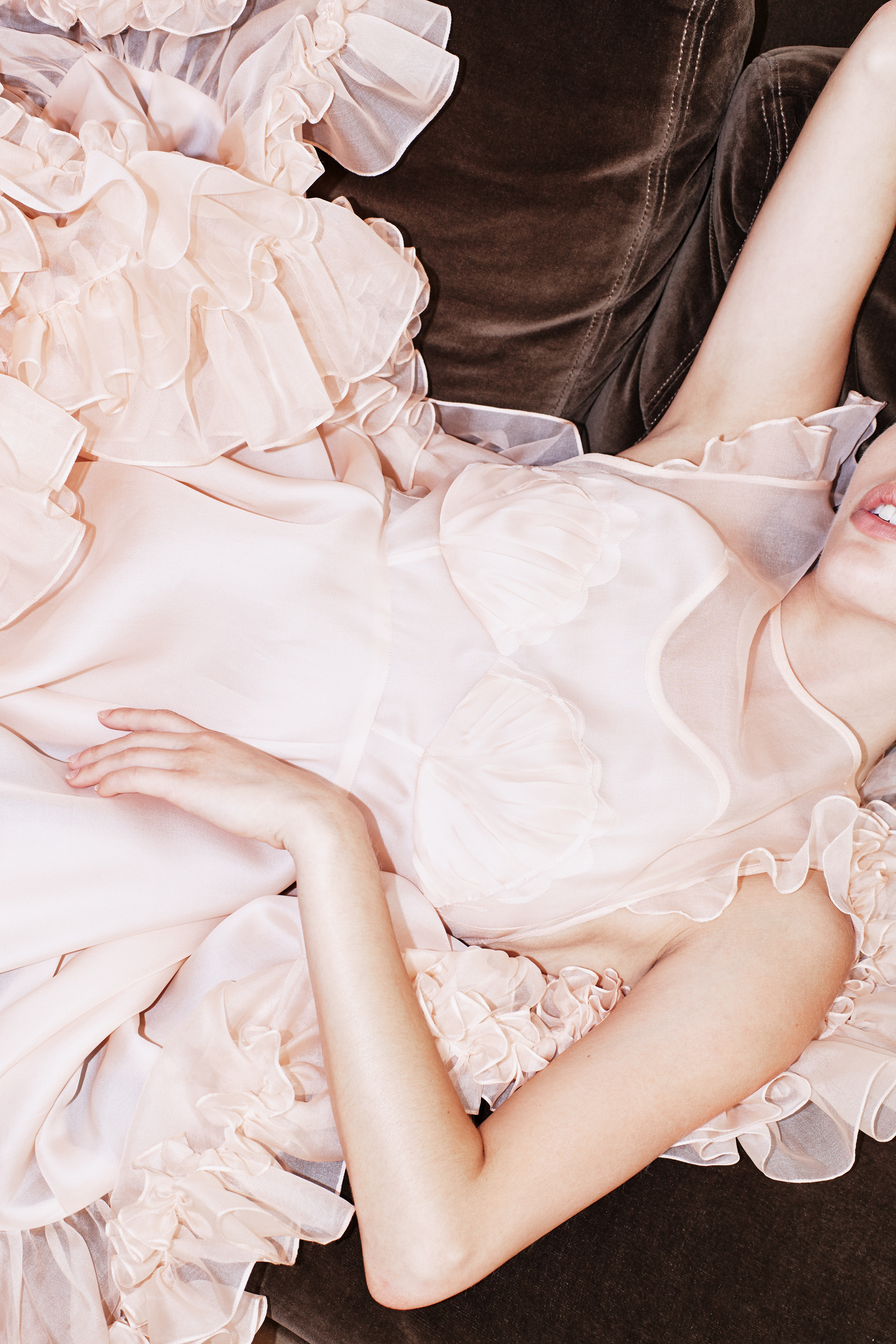 kelsey randall peach pink ballet silk organza mermaid seashell ruffle flounce pleated babydoll dress cute romantic girlie