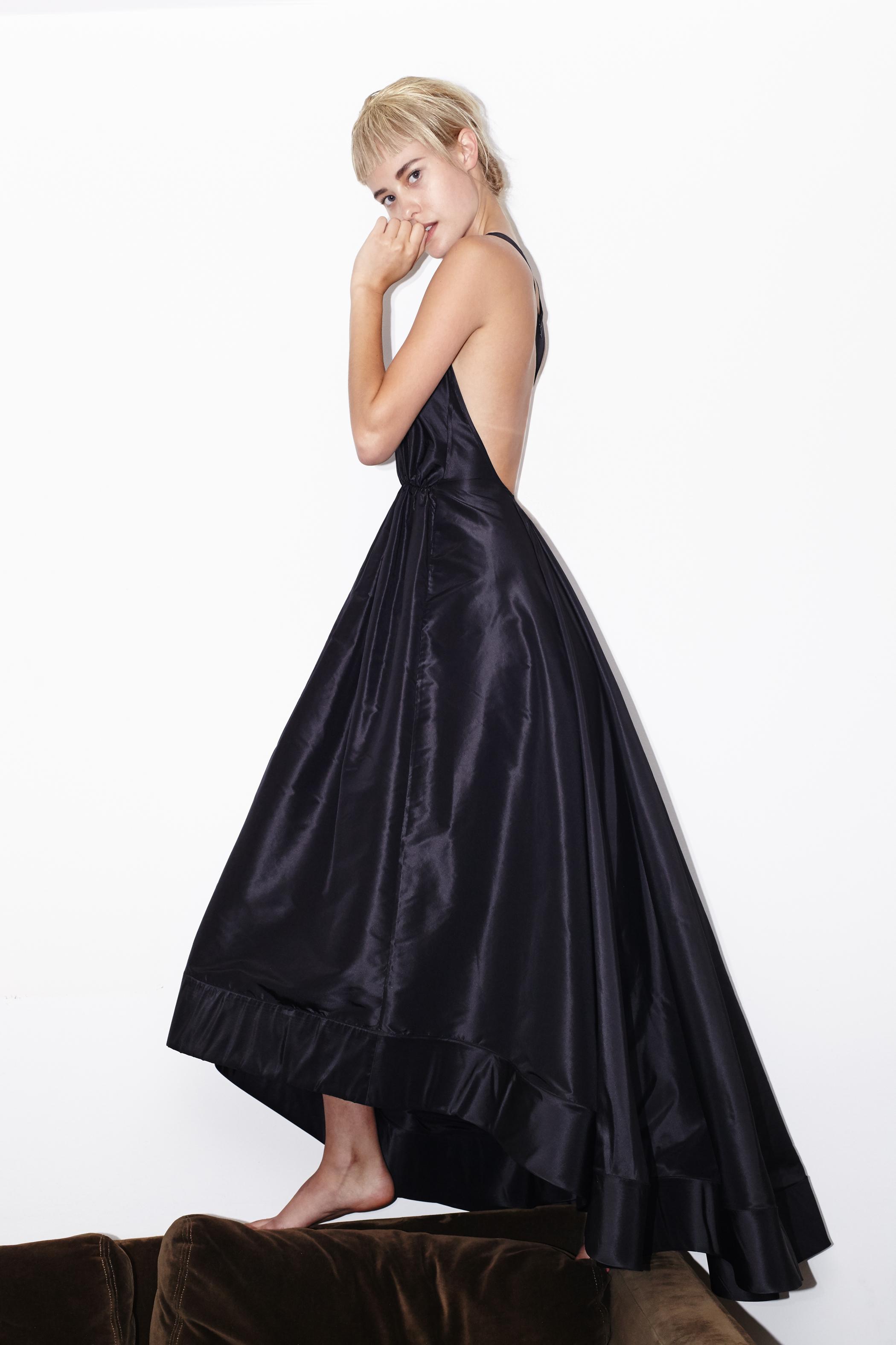 kelsey randall black silk taffeta a-line gown dress racer back dramatic red carpet bridesmaid wedding dress rehearsal dinner events red carpet