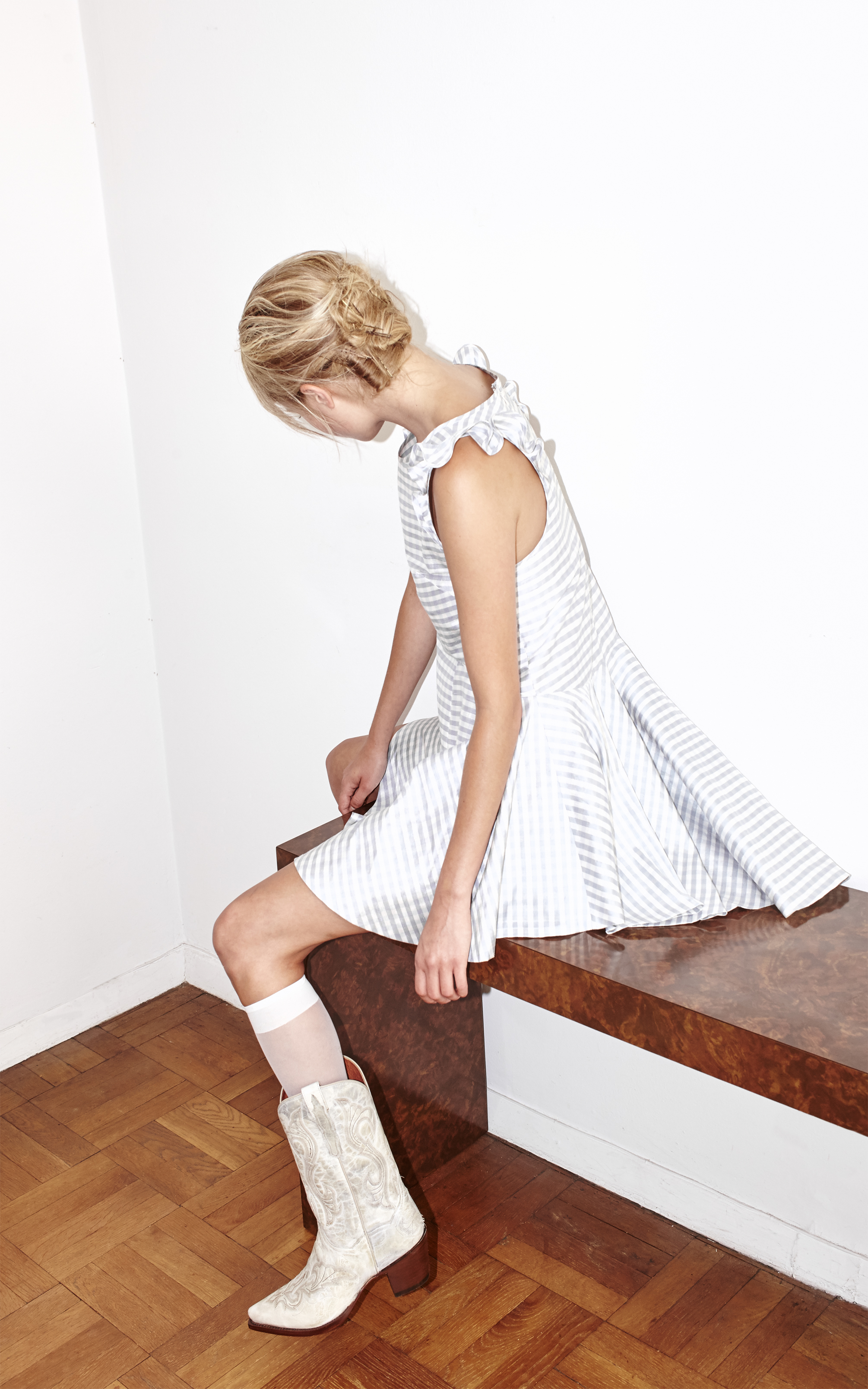 kelsey randall white cowboy boots wester style silk baby blue gingham skater dress a-line babydoll mini circle skirt ruffle shoulder sleeve