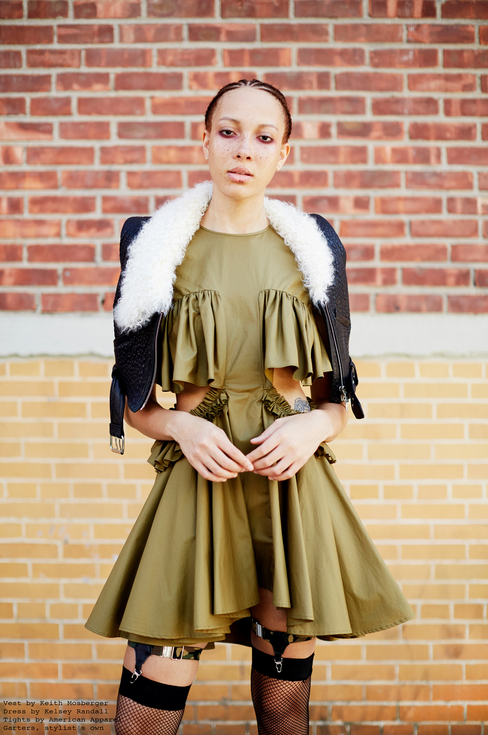 kelsey randall waxed cotton olive army green dress side cut outs short cap sleeve circle skirt ruffle bust