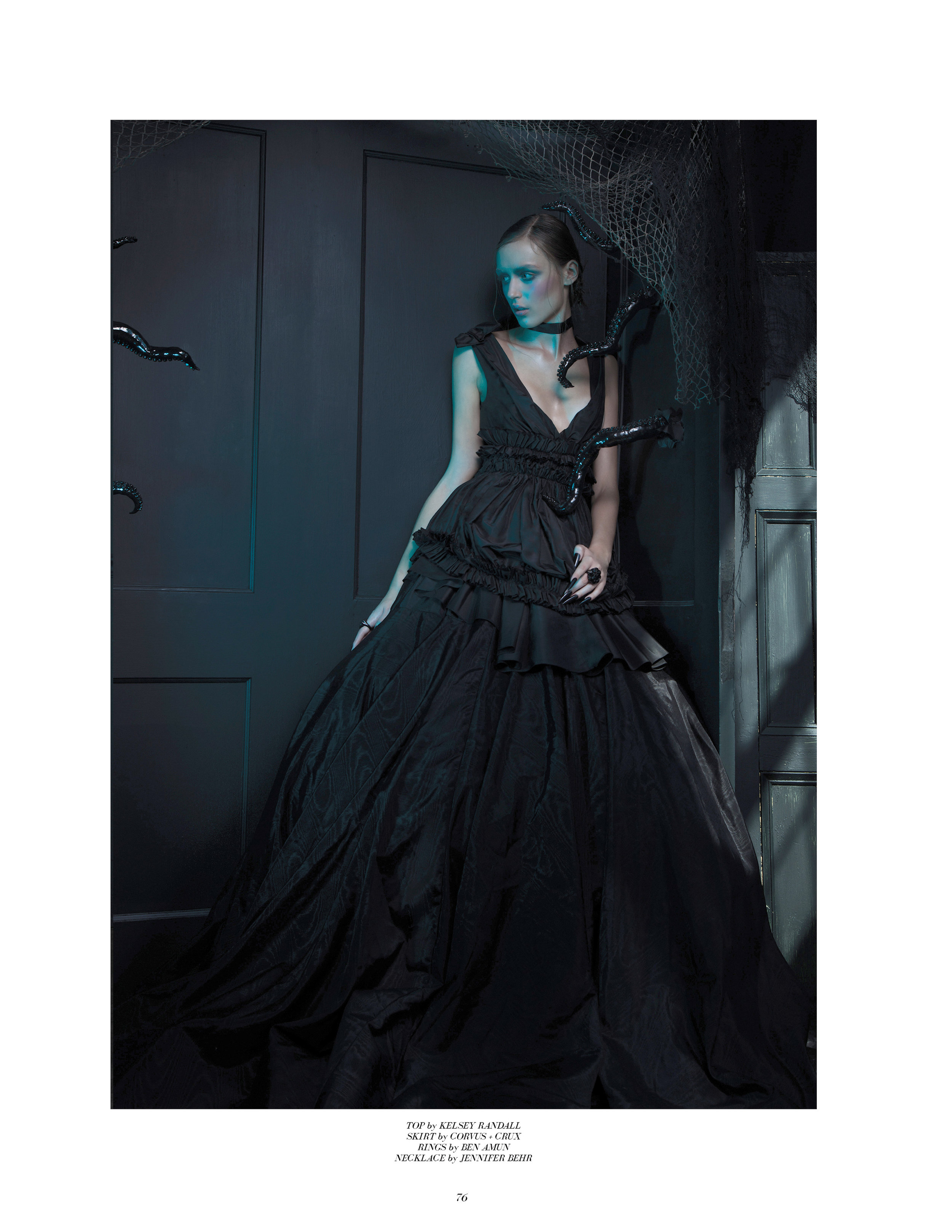 Copy of kelsey randall black silk taffeta gathered mini dress ruffle goth princess cupcake shoulder bow deep v plunge neck flounce party chic