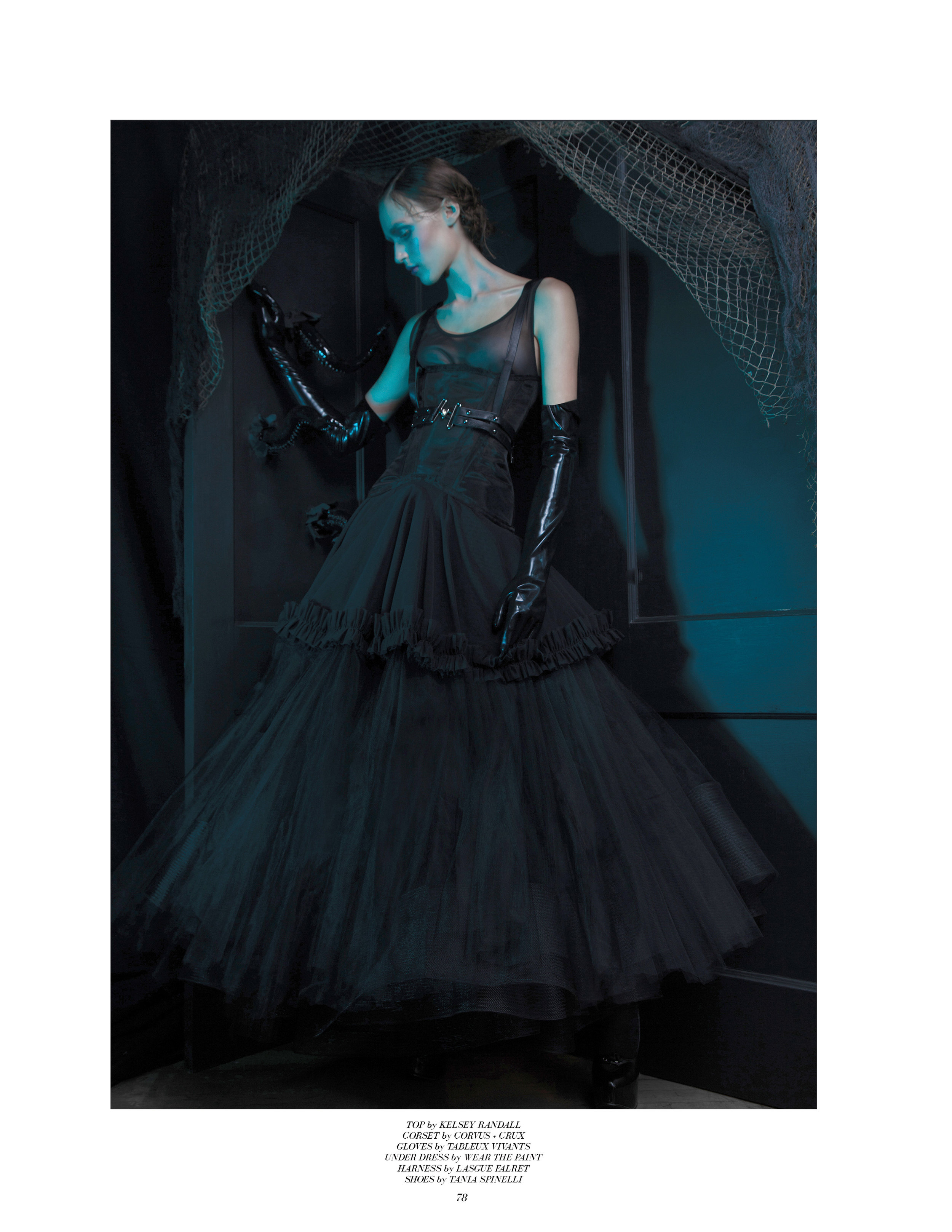 style noir magazine editorial featuring kelsey randall black mesh crinoline dress sheer ruffle hem godets