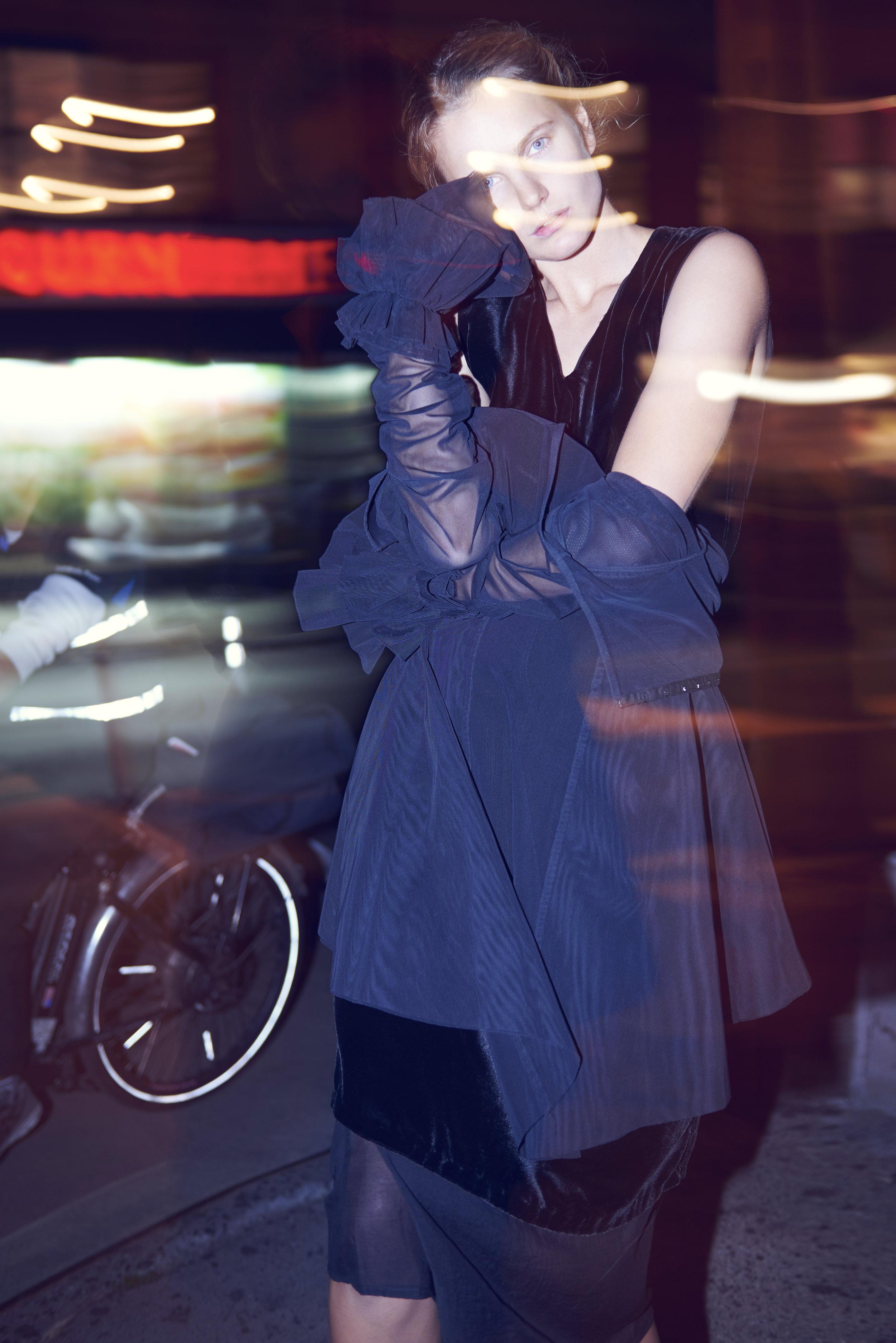 grayson hoffman kelsey randall night photo shoot les street style nightlife photography soho city bike black mesh sheer dress long sleeve