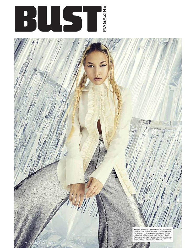 Bust Magazine Ones To Watch Kelsey Randall cream ruffle flannel button down blouse wide cuffs made-to-measure luxury womenswear L'KA emerging talent new models made in NYC New York City fashion design designers