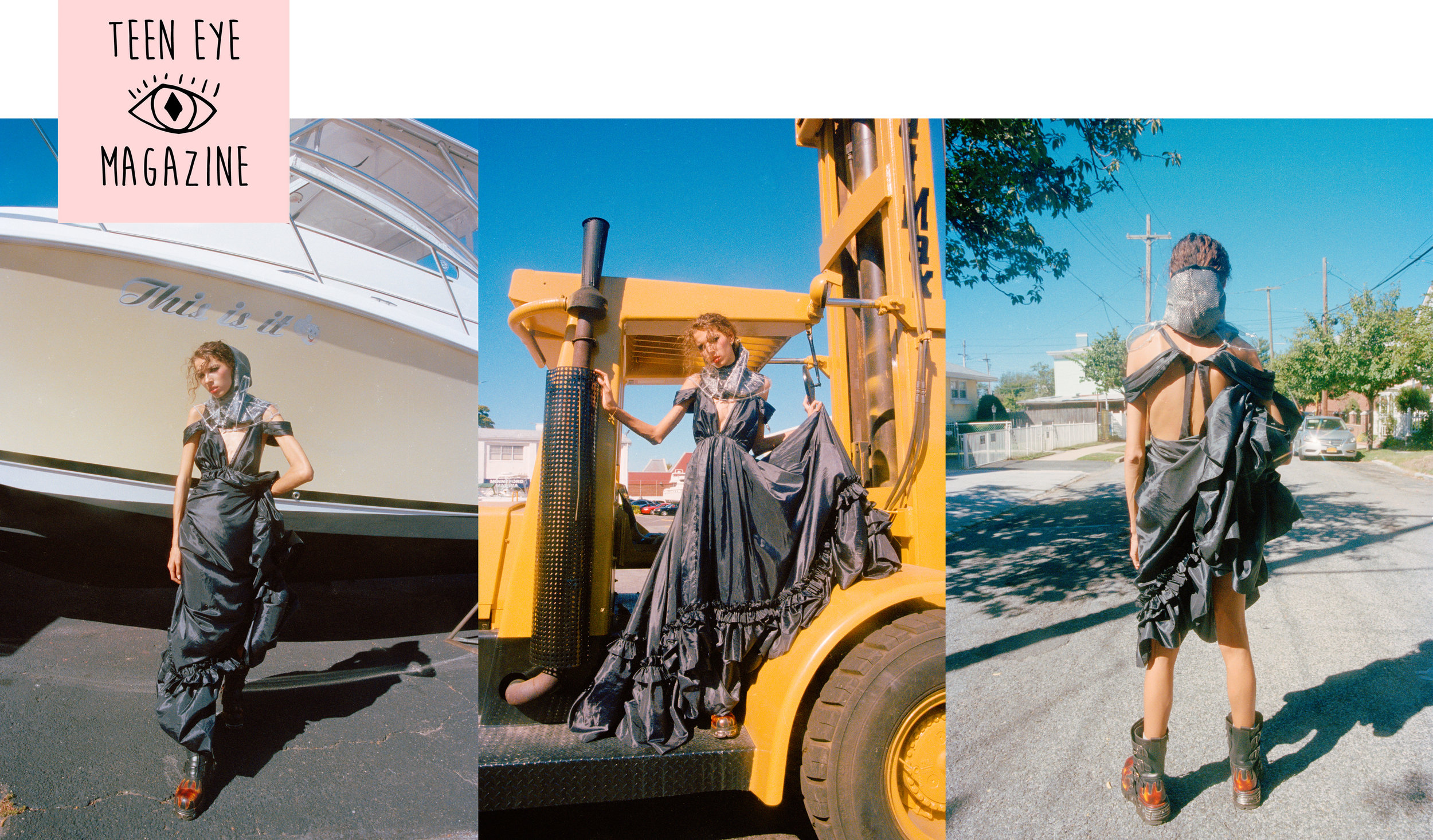 Teen Eye magazine editorial feautre Kelsey Randall navy silk taffeta parachute bustle gown ruffle dress Phia Wilson Emily Odesser Mia Varrone combat boots construction site bulldozer boat made-to-measure luxury bespoke custom womenswear made in New York City NYC Brooklyn Bushwick handcrafted red carpet fashion bridal gowns
