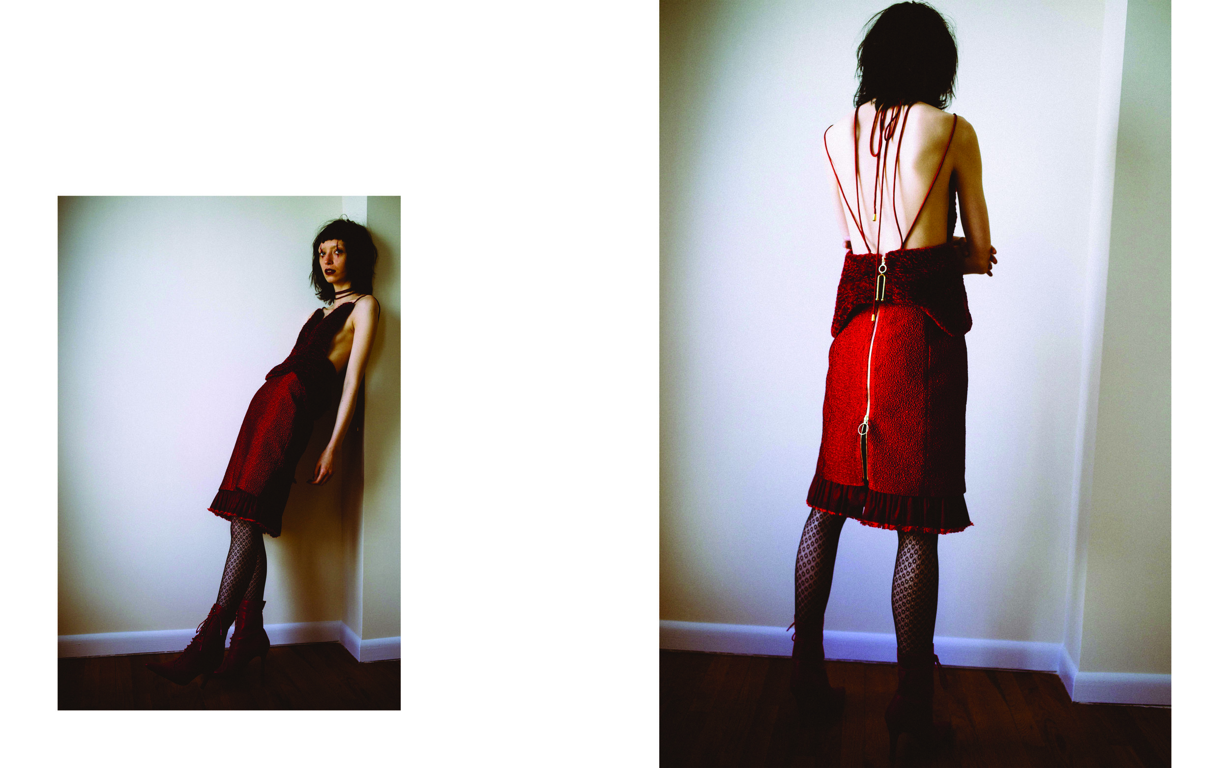 kelsey randall season of the witch red faux fur corset bustier top and hammered silk organza taffeta exposed zipper high waisted pencil skirt red boots