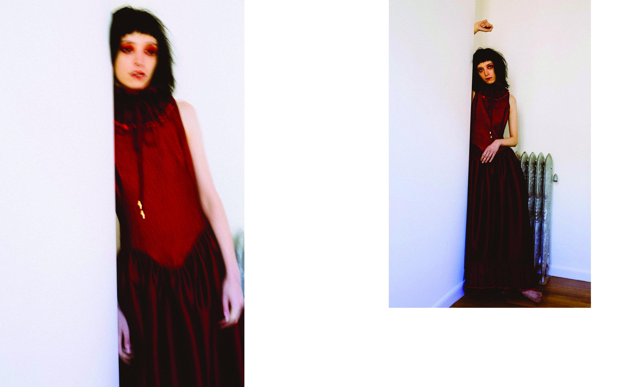 kelsey randall red hammered silk and taffeta raw ruffle hem bustle gown dress sleeveless neck ruff collar detachable