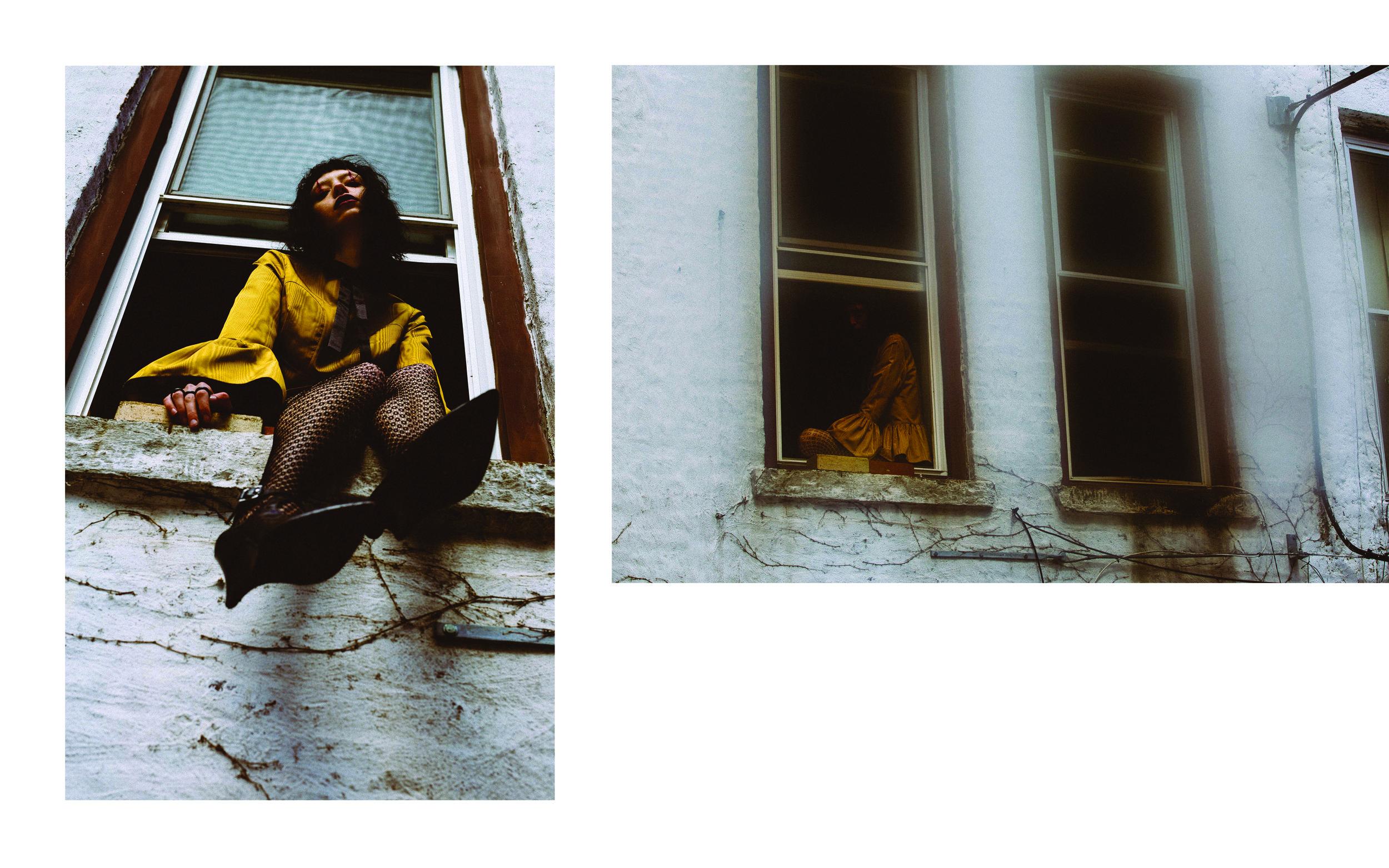 kelsey randall gold yellow silk moire blouse ruffle hem sweetheart neck line 3/4 length sleeve bell flounce gathered full sleeve cuff exposed gold zipper hardware back detail