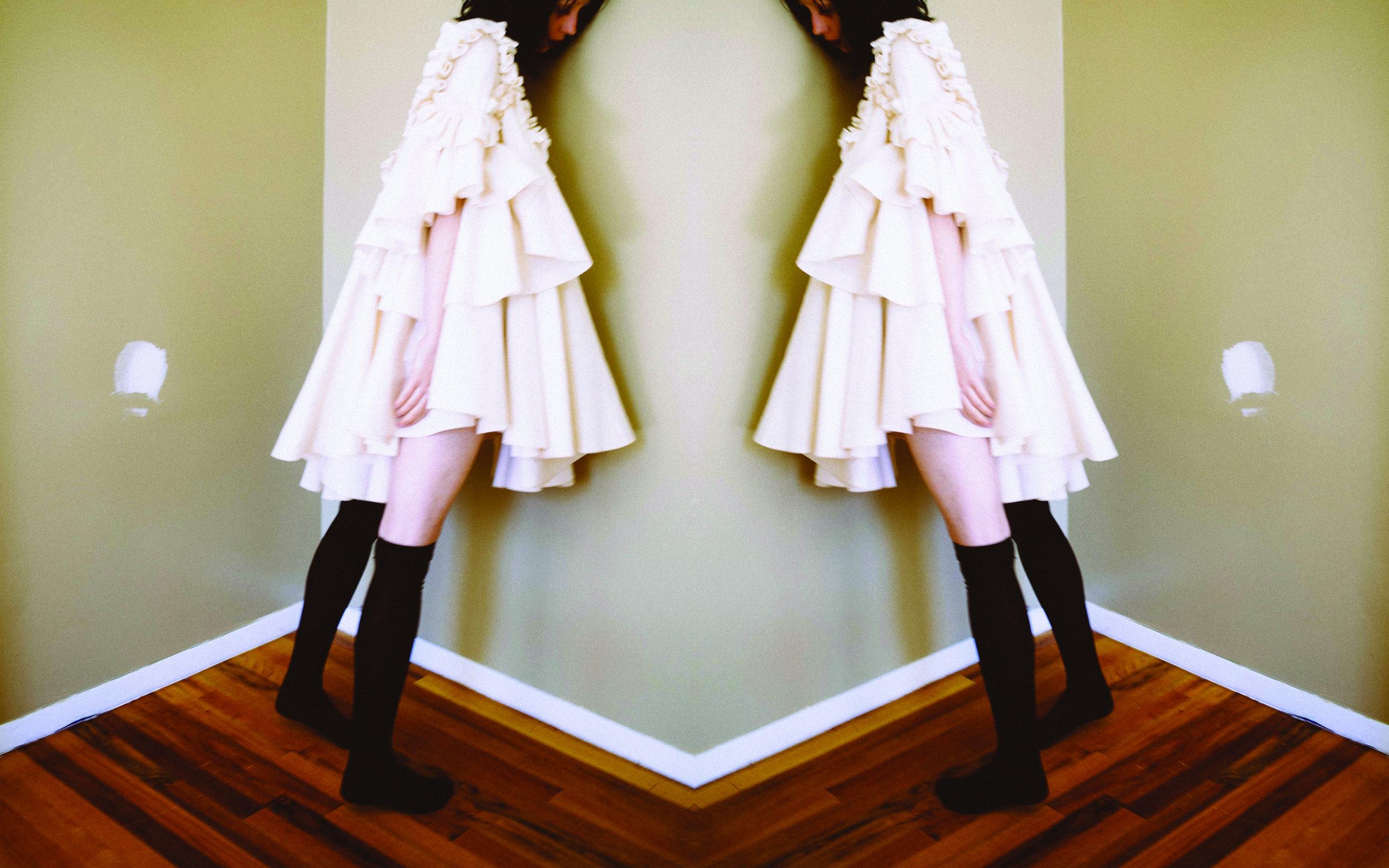 kelsey randall cream flannel ruffle shoulder sweetheart neck line gathered babydoll swing angel sleeve cotton dress
