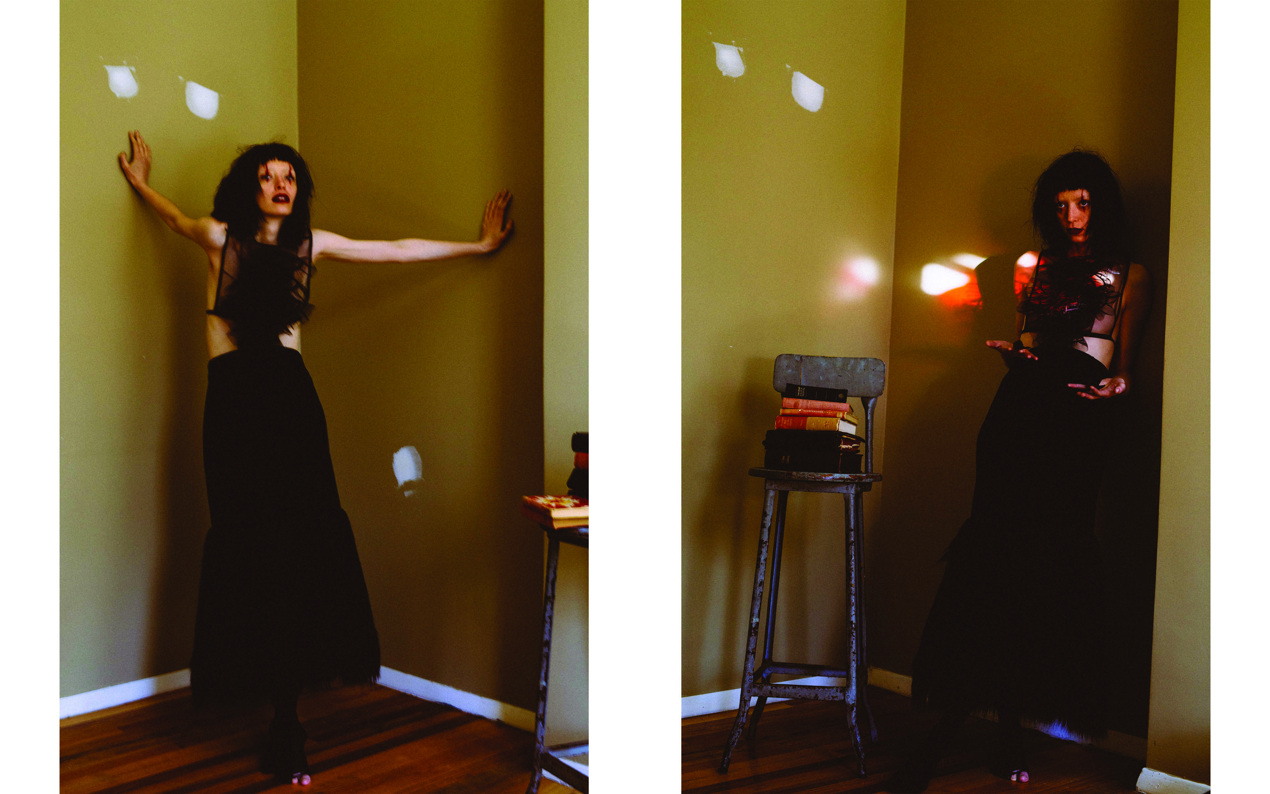 kelsey randall black ruffle front tulle dickie top bib crop tie blouse shirt black suede long pencil skirt princess seams high waist faux fur hem skirt