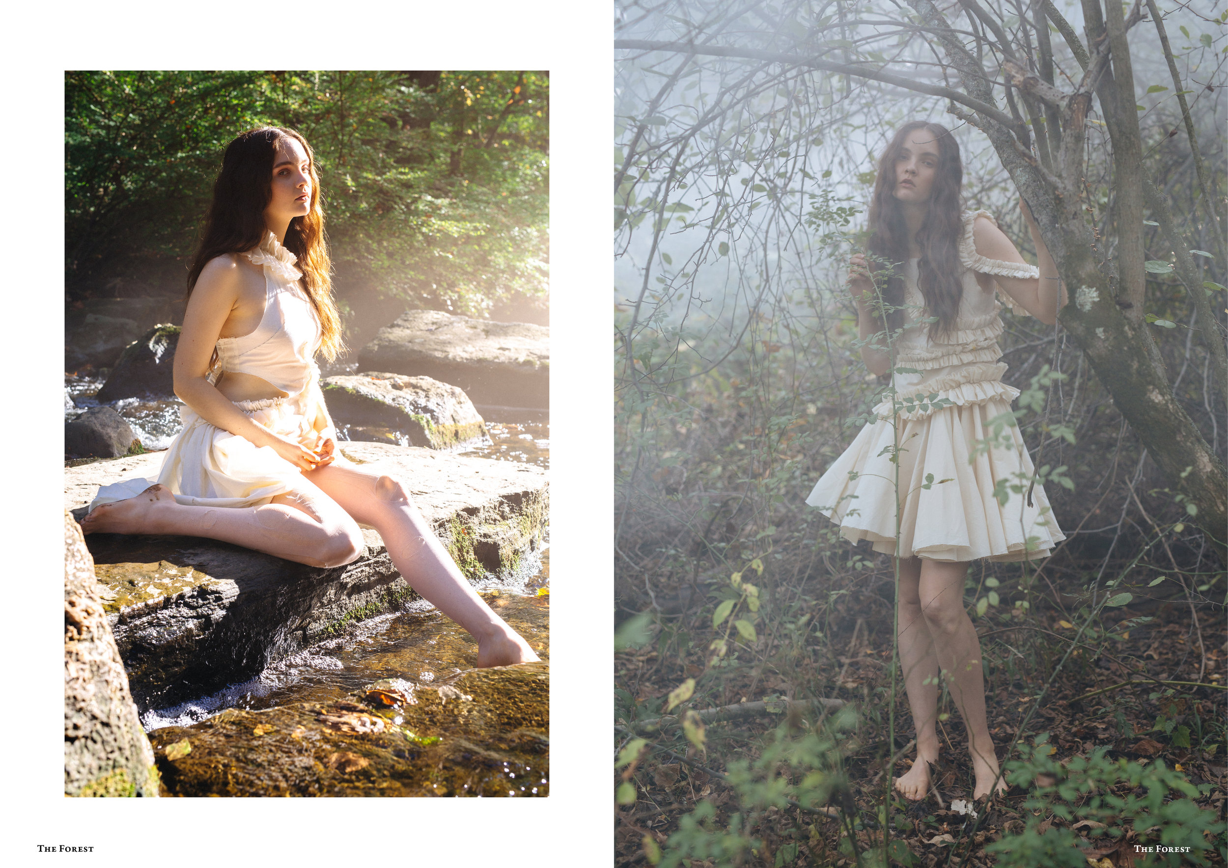 kelsey randall spencer ostrander smoke on the water bespoke muslin collection shoot the forest magazine