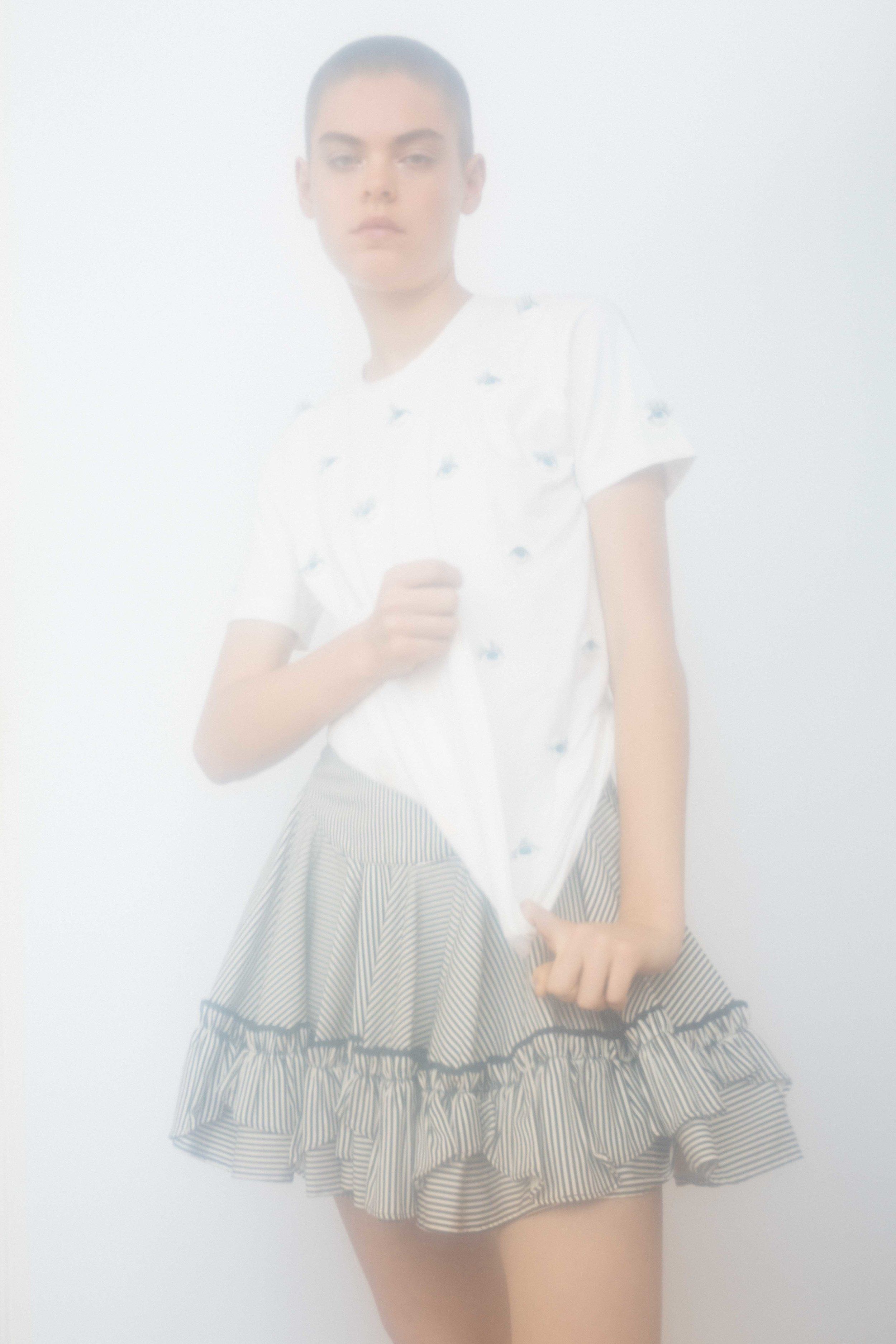 spencer ostrander anna rubin kelsey randall black and white thin cotton stripe circle skirt ruffle hem high waisted yoke