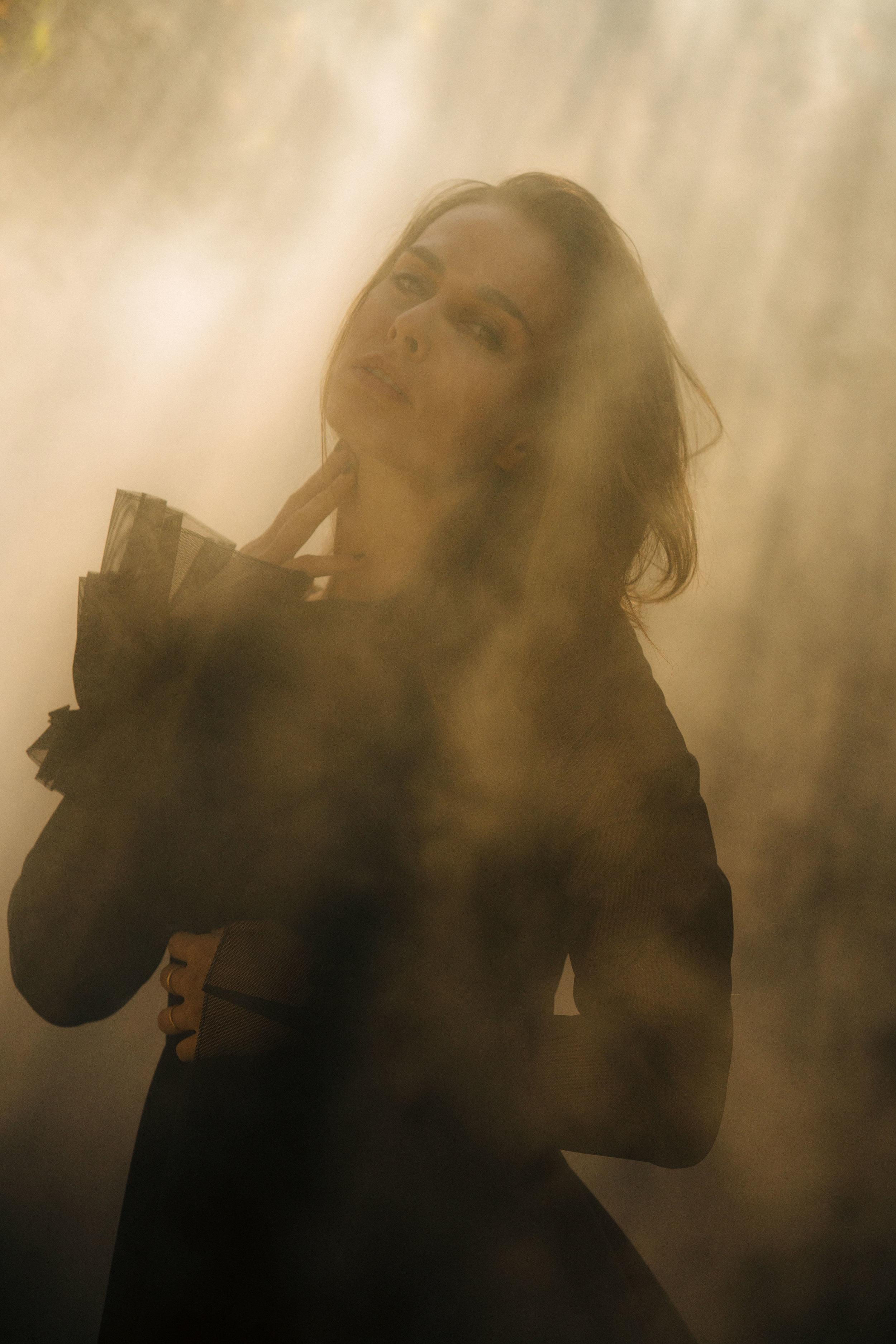 sophie auster spencer ostrander kelsey randall smoke light black mesh ruffle cuff long sleeve sheer dress