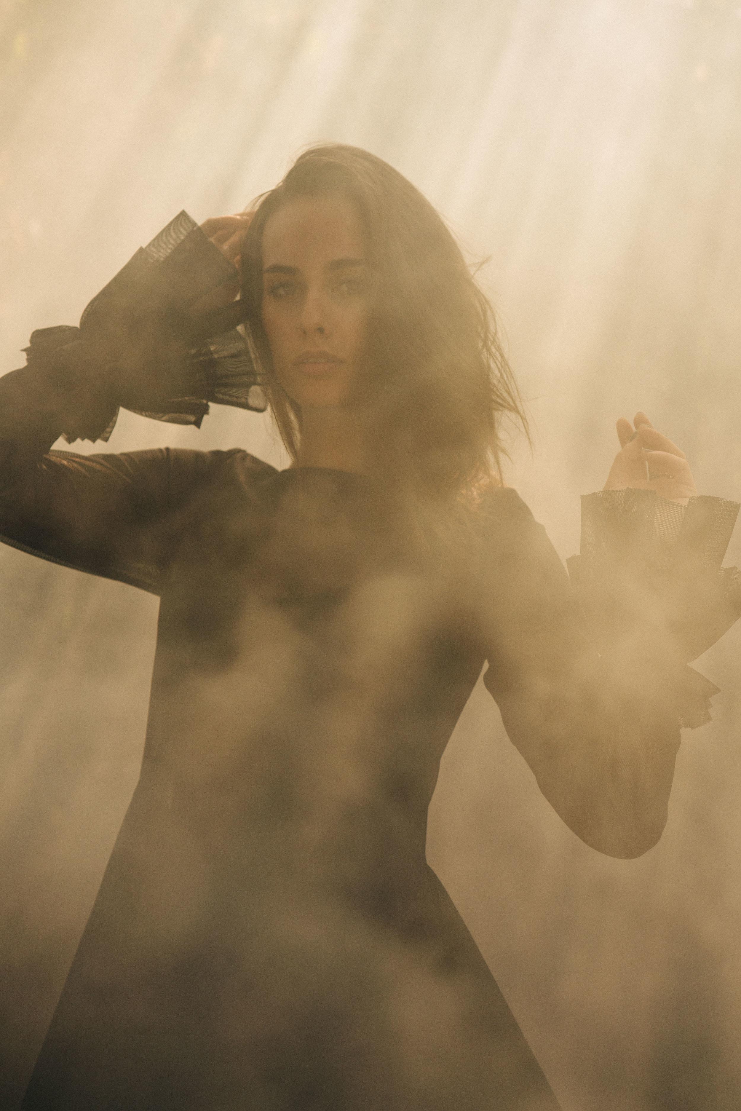spencer ostrander sophie auster  kelsey randall smoke light outdoor landscape portrait photo black mesh dress sheer ruffle cuff sleeve dress