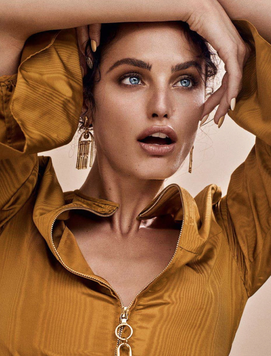 elle slovenia july beauty issue magazine cover story featuring kelsey randall gold silk moire blouse exposed zipper bell sleeve