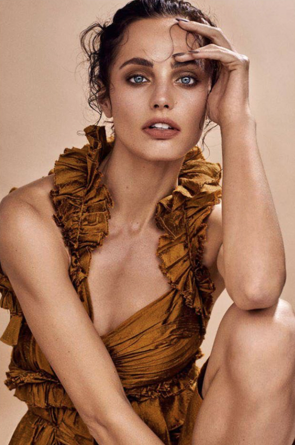 elle slovenia july cover beauty issue magazine special featuring kelsey randall gold silk shantung asymmetrical ruffle cut out mini dress