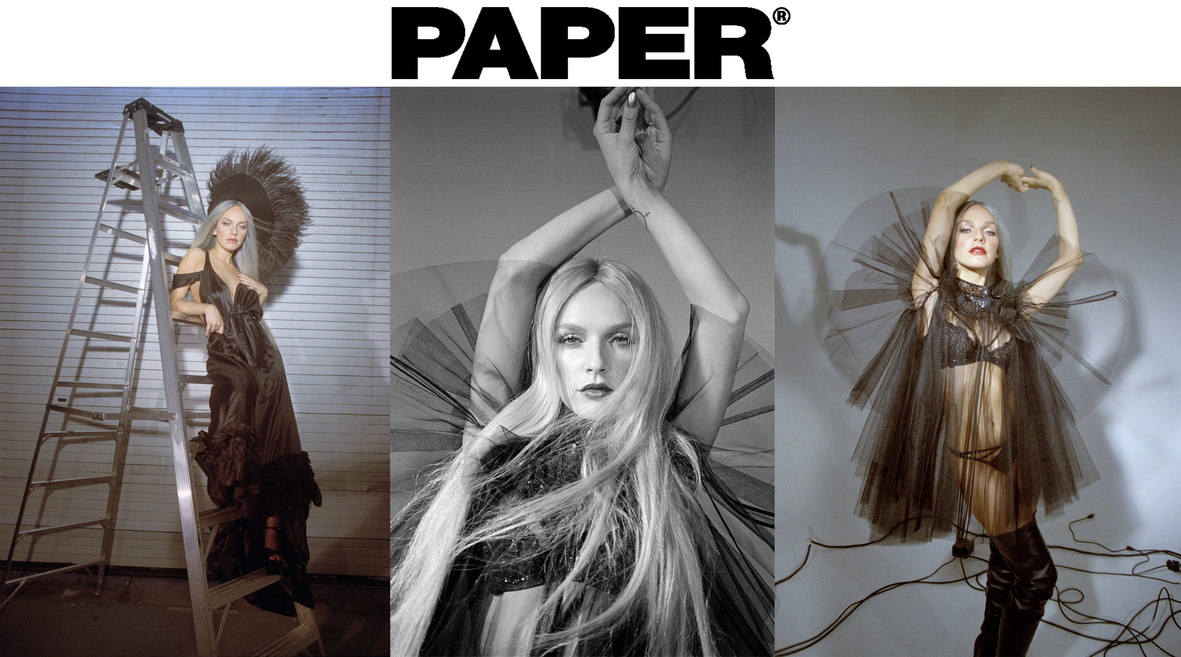 Zolita Paper Magazine June 2018 Pride Month  Photography: Paige Maccready    Styling: Zac Weiss and Jarrett Edward    Makeup: Tony Tulve    Hair: Will Schaedler    silk ruffle bustle gown shoulder drape sheer black tulle and sequin angel dress lingerie sexy      Kelsey Randall    dreamy demi-couture womenswear crafted in nyc    for future icons, rock stars, and goddesses    made-to-measure bespoke handcrafted custom bridal    made in NYC brooklyn bushwick new york city    sustainable ethical diverse boss lady werk