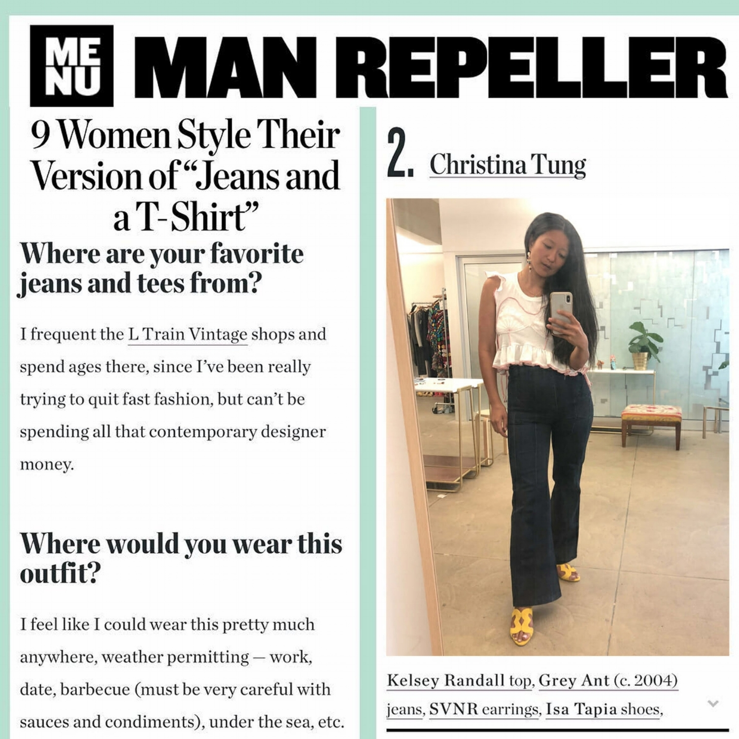 Manrepeller blog post featuring PR agent house of christina tung wearing kelsey randall hanes mermaid embroidered shell ruffle side tie pink and white tee t-shirt   Kelsey Randall    dreamy demi-couture womenswear crafted in nyc    for future icons, rock stars, and goddesses    made-to-measure bespoke handcrafted custom bridal    made in NYC brooklyn bushwick new york city    sustainable ethical diverse boss lady werk