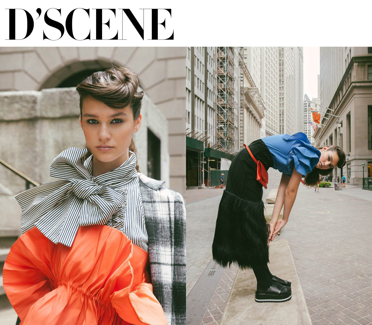 Fashion photographer  Katie Borrazzo  captured  Wall Street Story  exclusively for    DESIGN SCENE STYLE    featuring the striking  Deirdra Martin  at   Elite Model Management  . Styling is work of   Creative Duo  by Patricia Cedeno Orozco & Maria Montane , with hair and makeup from beauty artist Mayela Vazquezartist.  wearing black faux suede and faux fur skirt and black and white thin pin stripe cotton sleeveless ruffle front bow blouse