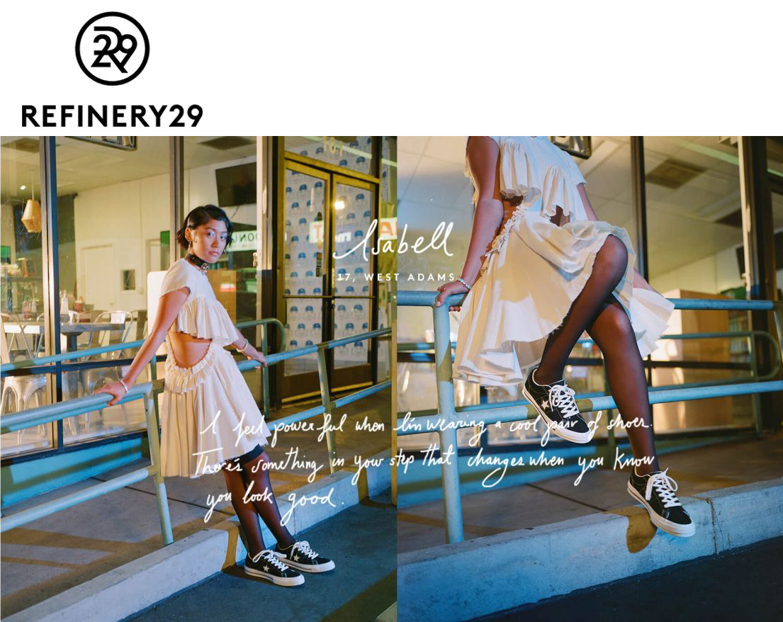 refinery29 converse one star sneakers tennis shoes flats black and white lace up tights thigh highs isabell wearing kelsey randall muslin ruffle cut out side caap sleeve midi bust ruffles shot by photographer james j robinson   Kelsey Randall    dreamy demi-couture womenswear crafted in nyc    for future icons, rock stars, and goddesses    made-to-measure bespoke handcrafted custom bridal    made in NYC brooklyn bushwick new york city    sustainable ethical diverse boss lady werk