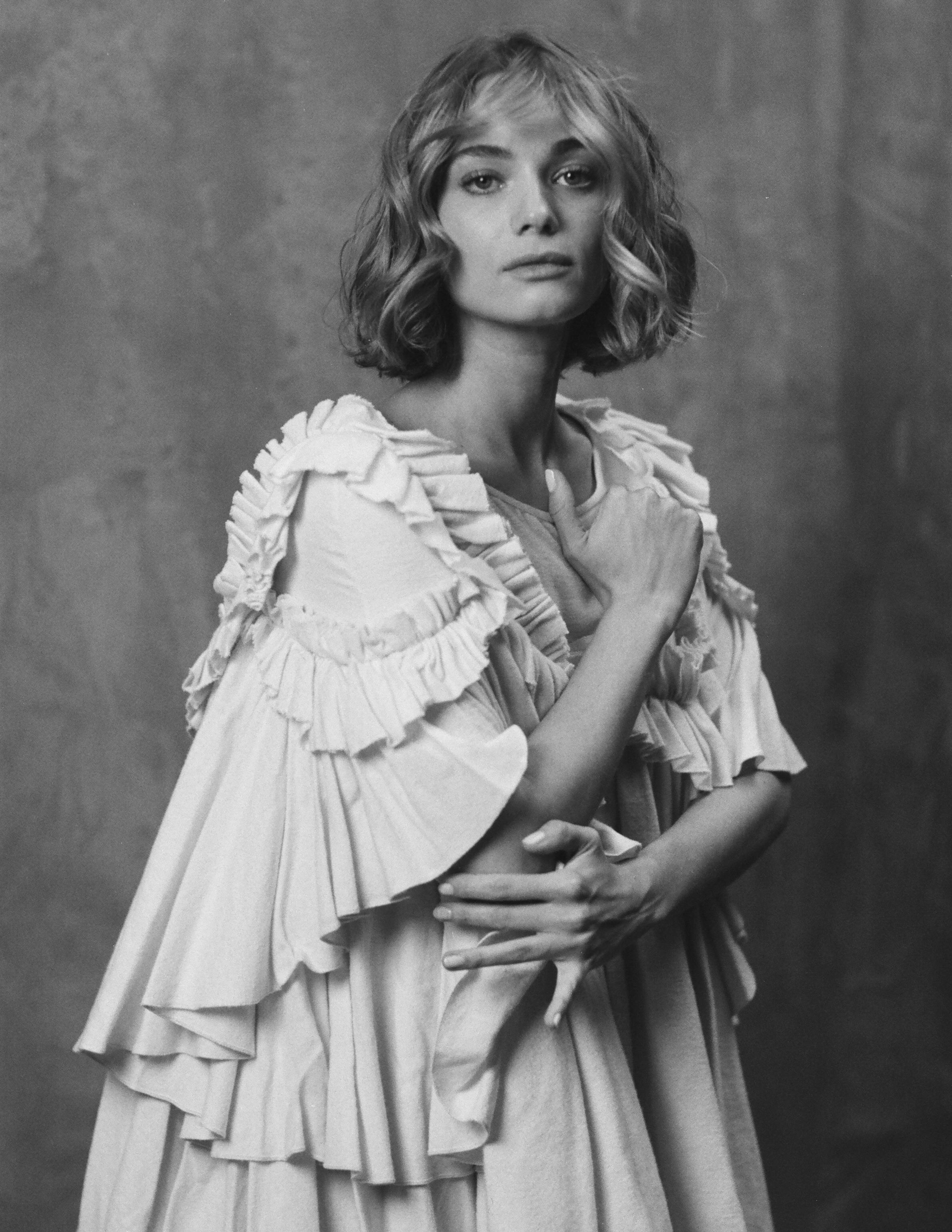 emily soto kelsey randall flannel muslin ruffle angel dress