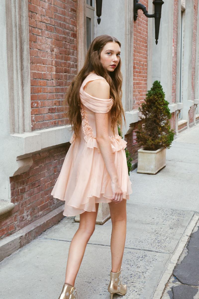 kelsey randall peach silk organza ruffle drape shoulder cinderella dress