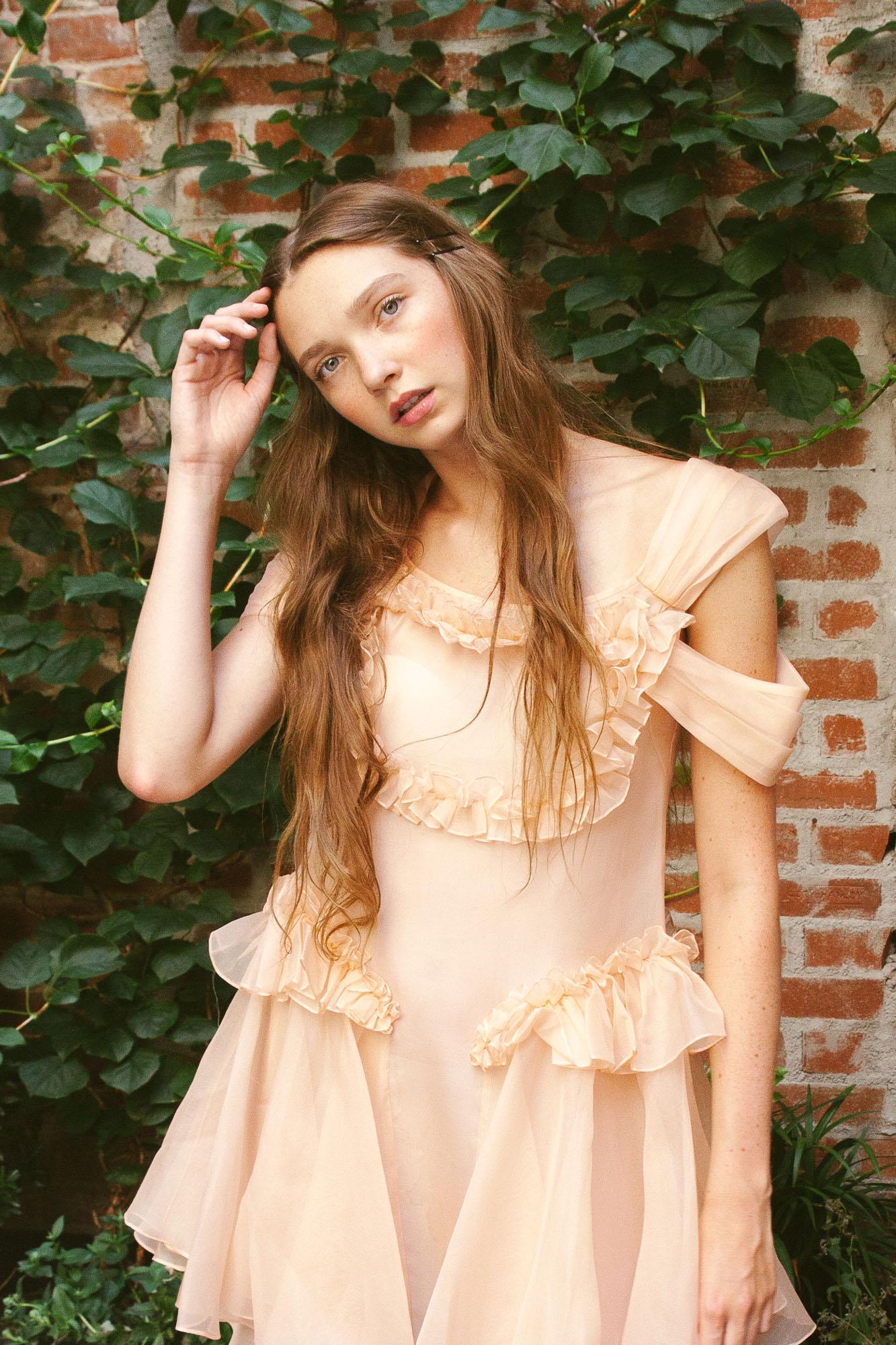 kelsey randall peach silk organza shoulder drape ruffle front hip cinderella dress
