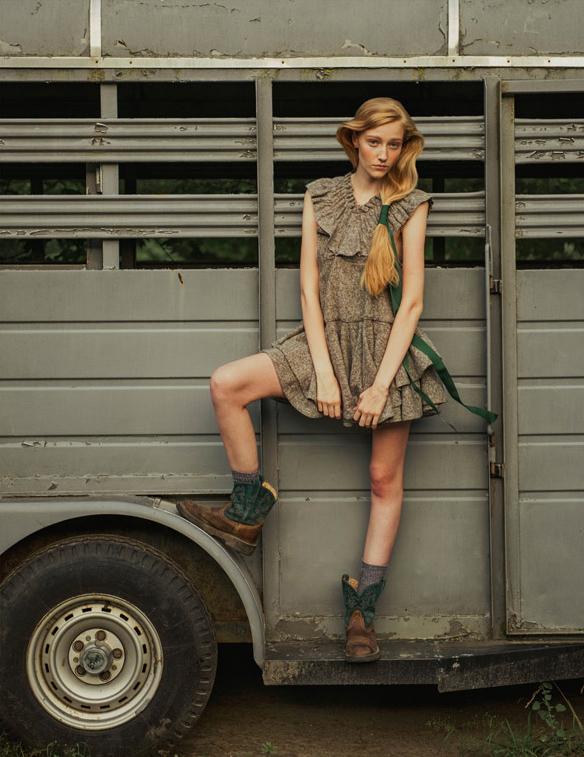 ones 2 watch fashion editorial featuring kelsey randall grey gray wool jumper felt boiled ruffle dress
