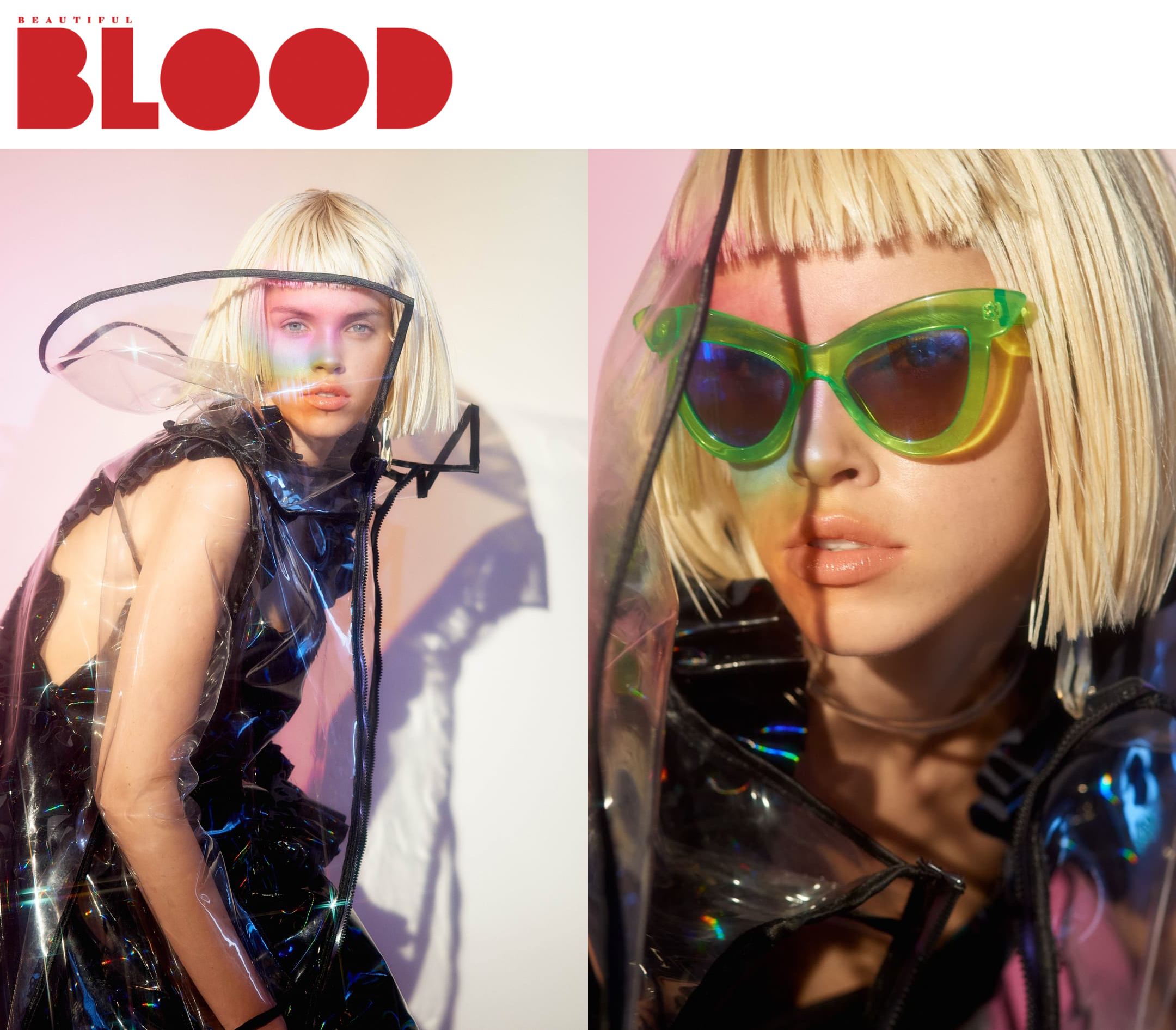Beautiful Blood    Rute Bock     Industry Model Management    Photographers / FIONAYEDUARDO, Styling / HATTIE DOOLITTLE , Hair / JENNI IVA WIMMERSTEDT, Makeup / JENNY SAUCEDA  fashion editorial featuring kelsey randall holographic rainbow vinyl black pvc ruffle dress shoulder hip  Kelsey Randall  dreamy demi-couture womenswear crafted in nyc  for future icons, rock stars, and goddesses  made-to-measure bespoke handcrafted custom bridal  made in NYC brooklyn bushwick new york city  sustainable ethical diverse boss lady werk