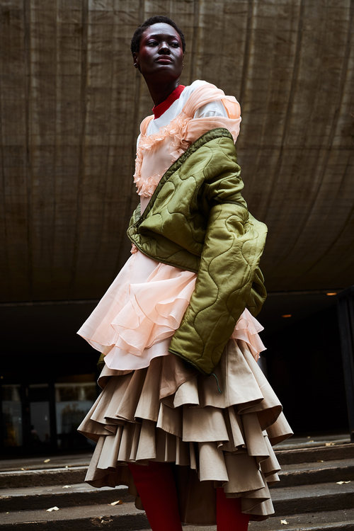 nataal magazine fashion editorial featuring kelsey randall peach silk organza ruffle cinderella dress