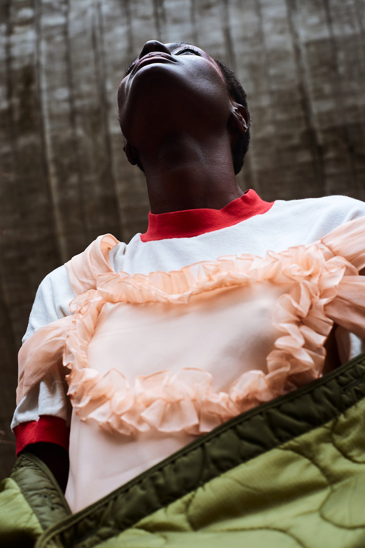 nataal fashion editorial featuring kelsey randall peach silk organza ruffle cinderella dress