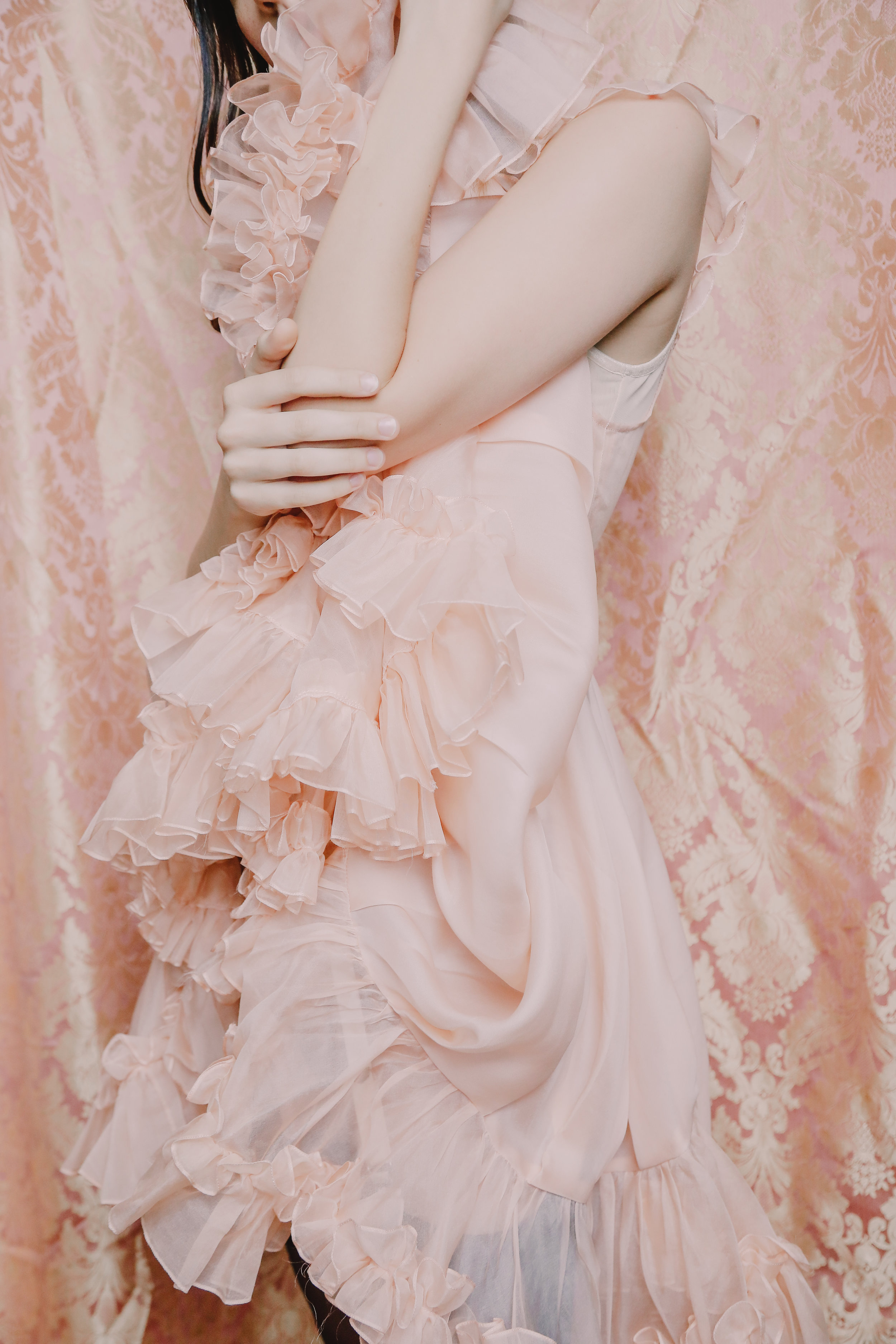 vanity teen fashion editorial featuring kelsey randall peach silk organza mermaid dress