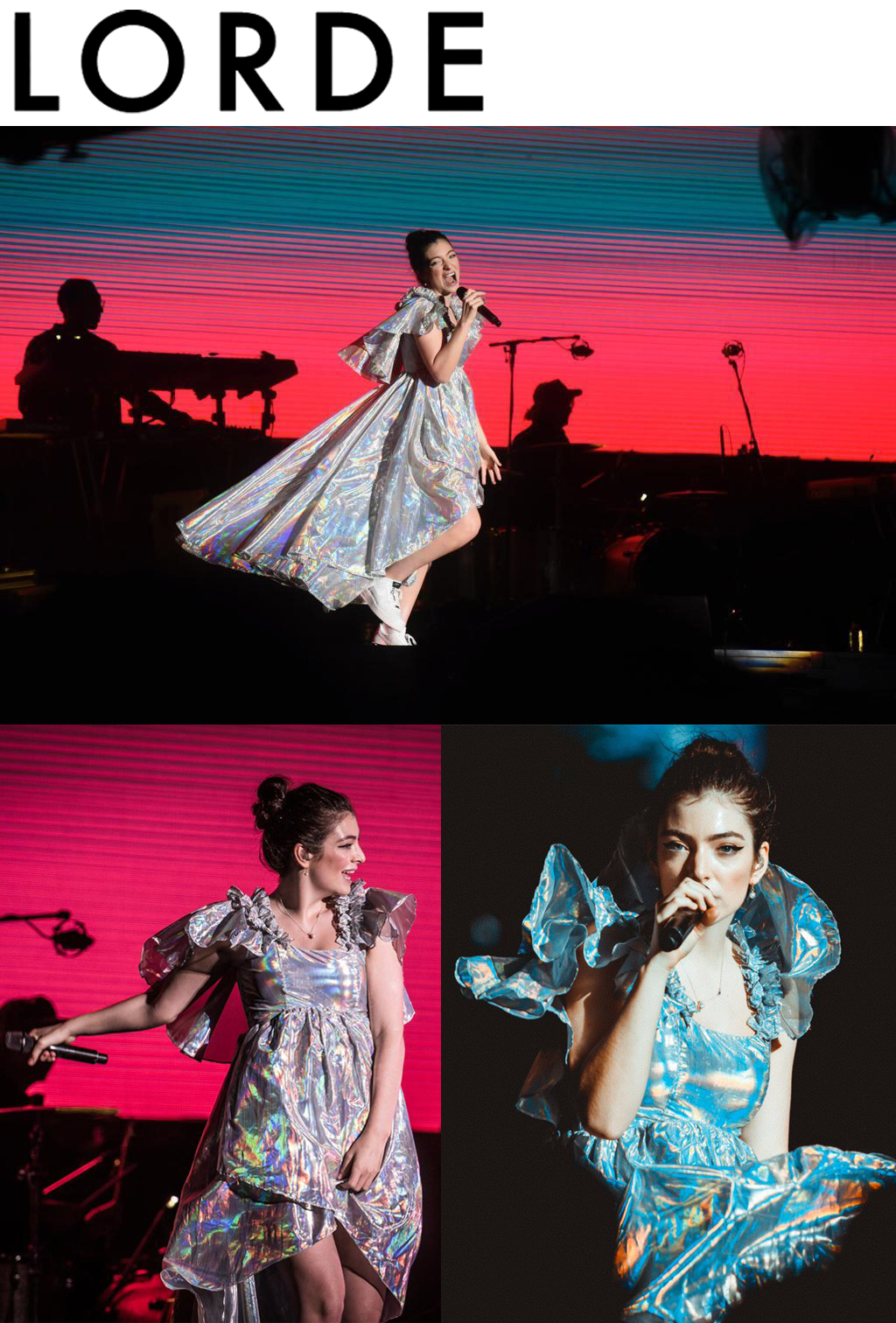 Lorde personal music festival buenos aires argentina styled by karla welch wearing Kelsey Randall holographic ruffle cape back angel gown high-low dress
