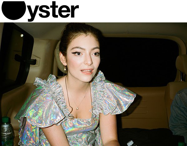 Lorde in Oyster Magazine wearing Kelsey Randall holographic angel dress styled by Karla Welch