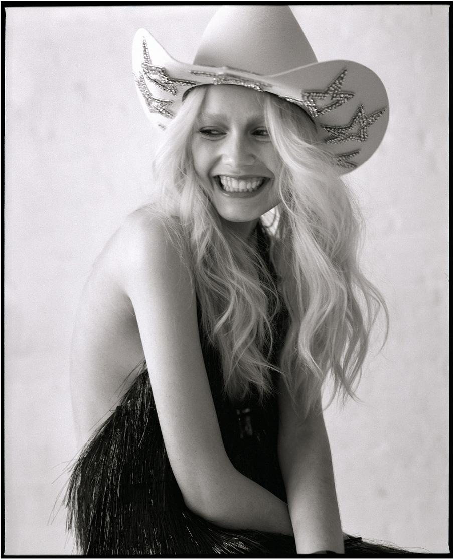 nasty magazine fashion editorial featuring kelsey randall white rhinestone cowboy hat cowgirl sparkle