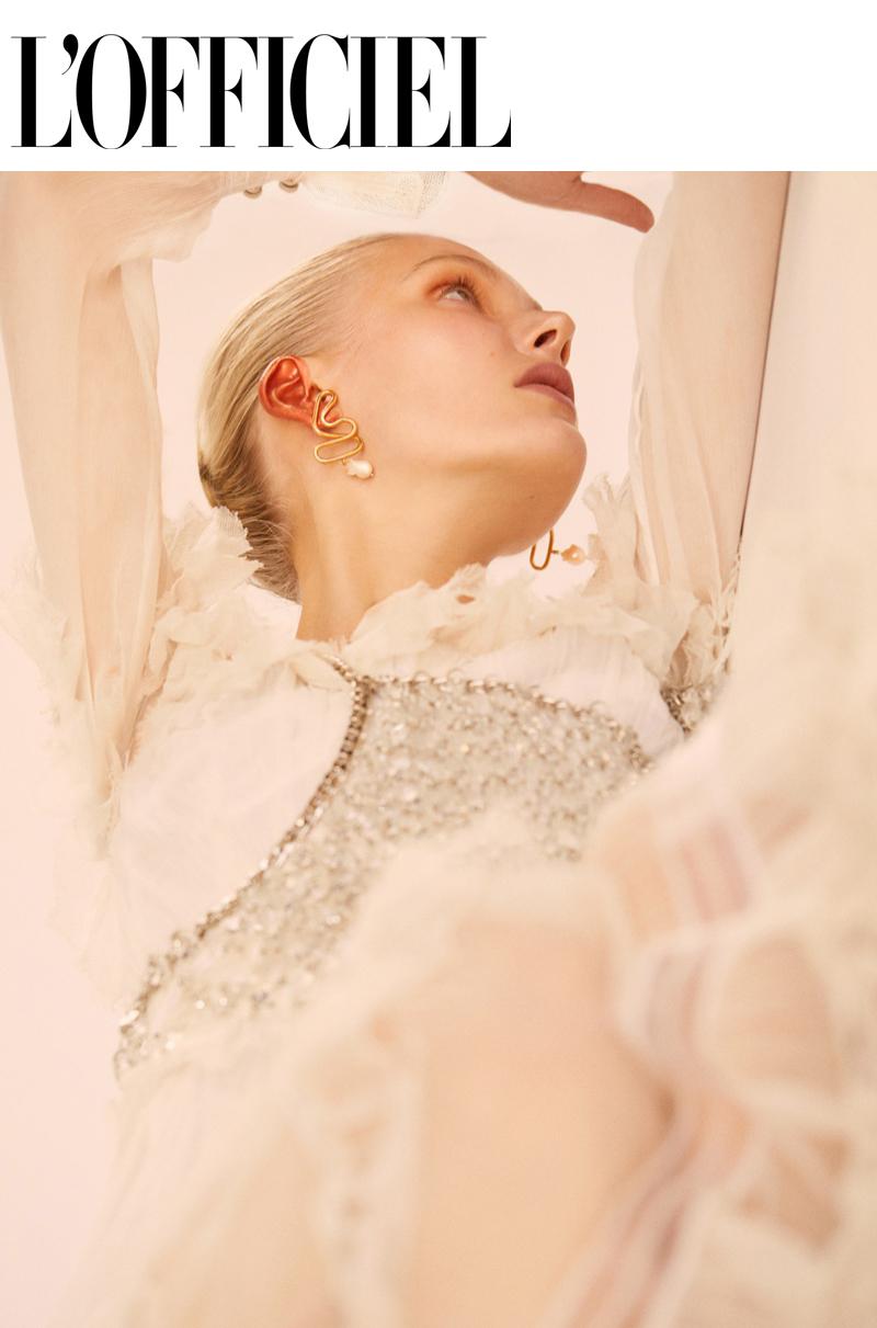 L'Officiel Thailand fashion editorial featuring kelsey randall crystal chainmail halter  Elliot Jimenez  - Photographer   Erick Jimenez  - Photographer   Ann Benjamas Liendo  - Makeup Artist   Nana Skovgaard  - Model