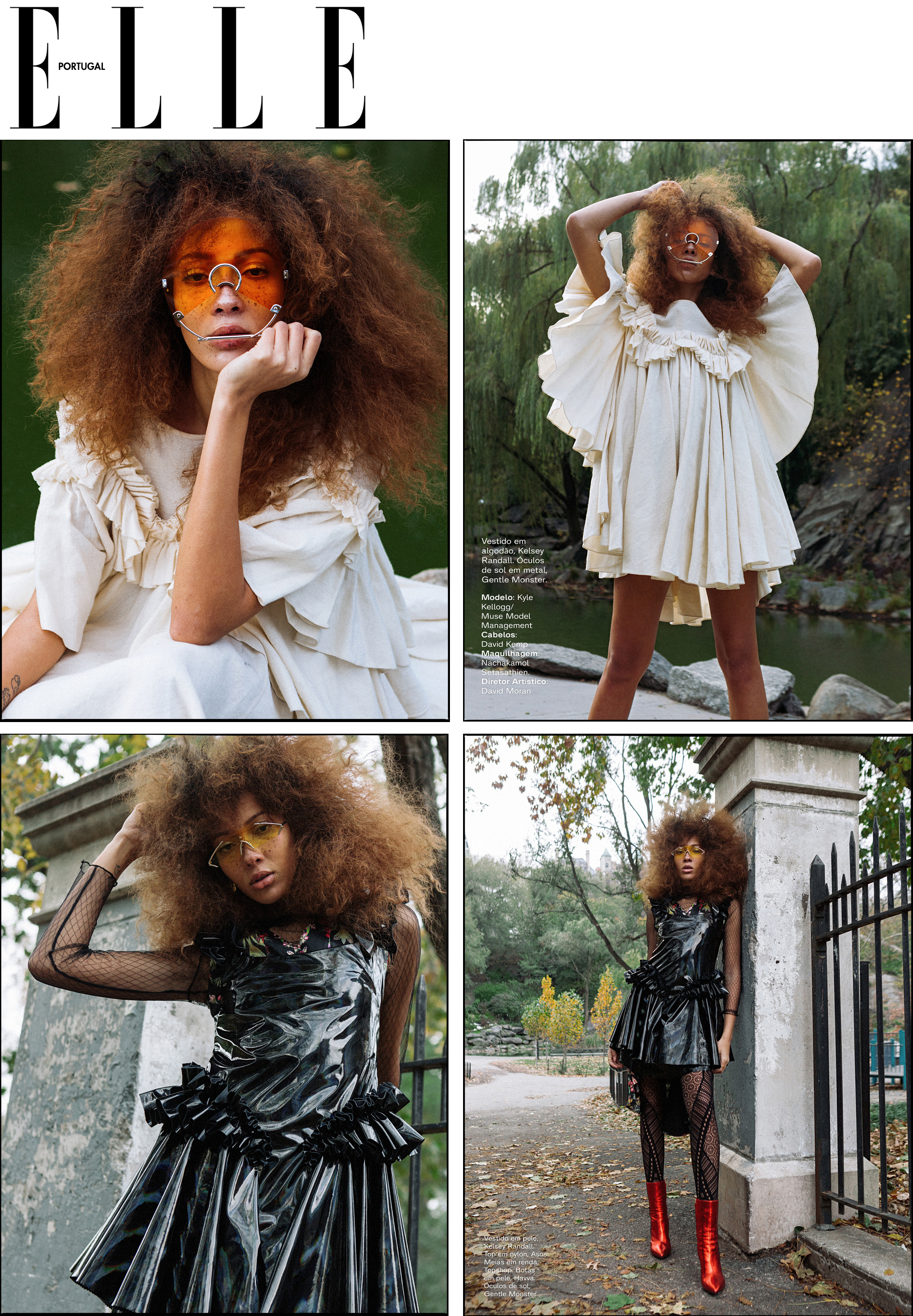 Elle Portugal March 2019 issue fashion spread featuring Kelsey Randall cream flannel angel dress and black holographic vinyl ruffle dress model kyle kellogg