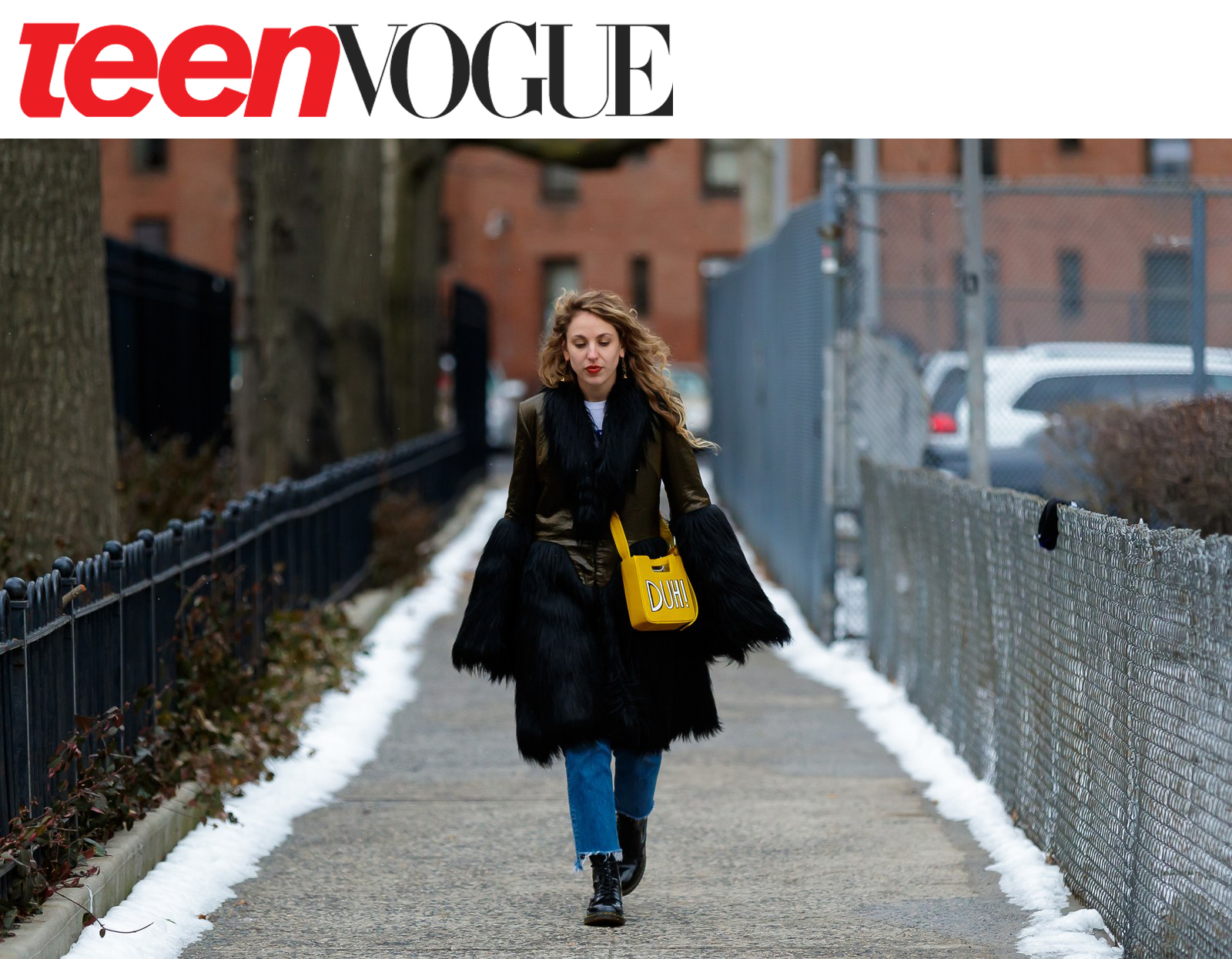 New York Fashion Week NYFW Alyssa Hardy shot for Teen Vogue by Mode Hunter wearing kelsey randall olive quilted silk and faux fur coat