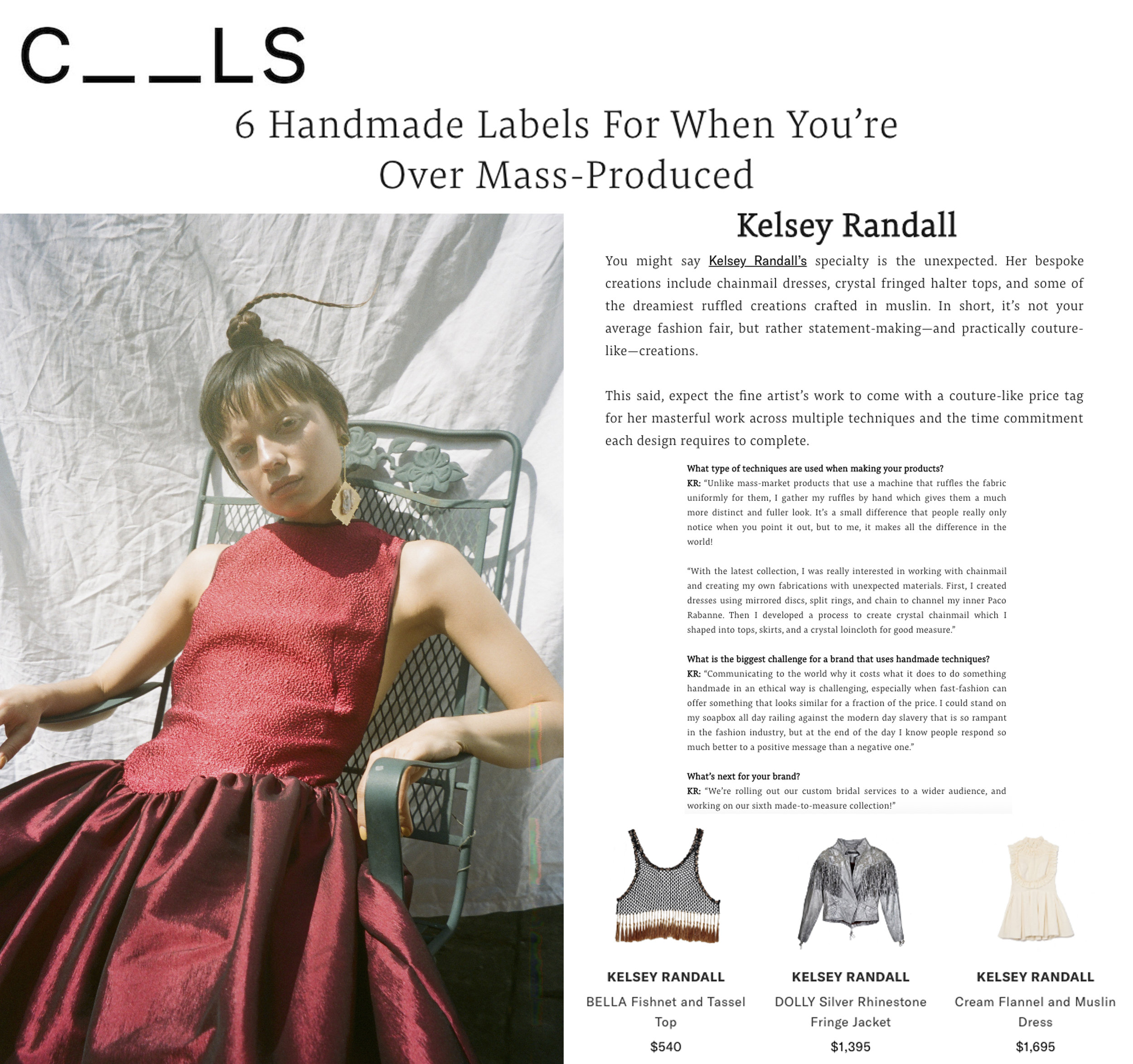 the cools fashion story handmade brands to watch handcrafted sustainable ethical fashion kelsey randall