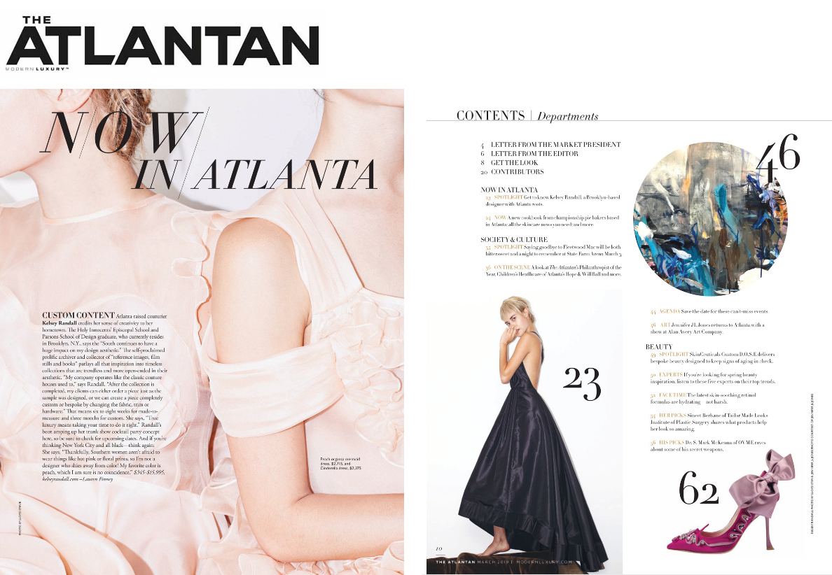 The Atlantan Magazine modern luxury march 2019 issue featuring kelsey randall custom bespoke couture hometown made-to-measure