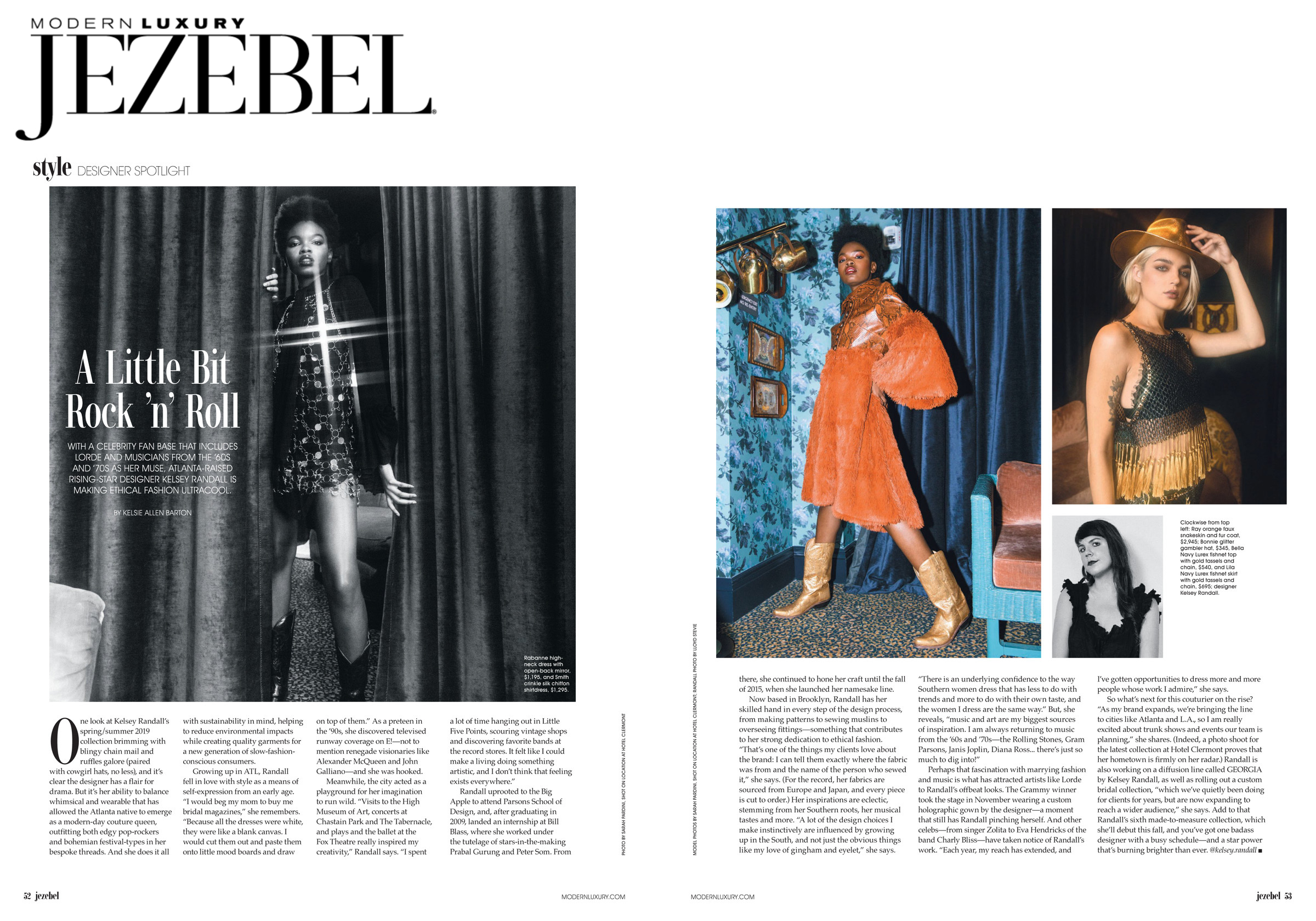Jezebel Magazine interview fashion editorial feature on Kelsey Randall brand with photos by sarah pardini shot at hotel clermont atlanta