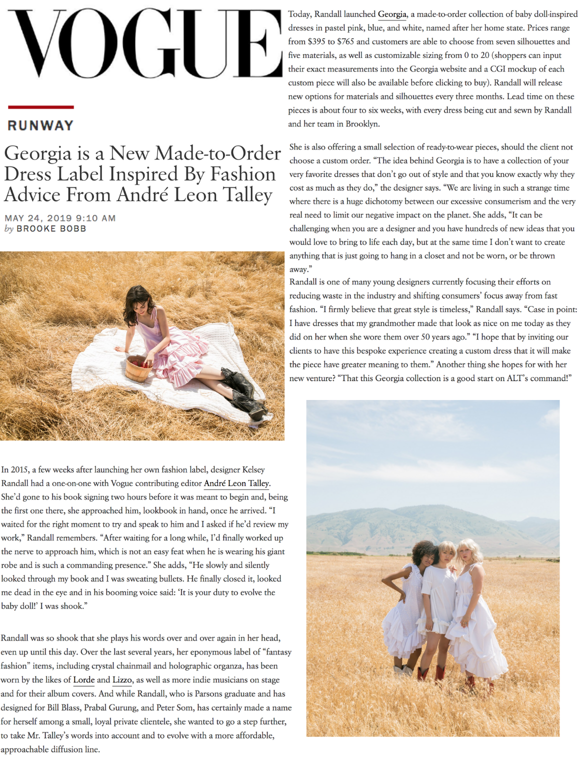 vogue magazine feature on georgia by kelsey randall brand launch bespoke made-to-order custom dresses made in nyc made in america size inclusive