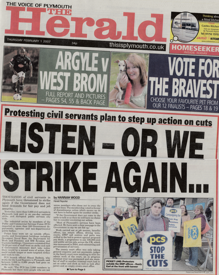 Interviews with civil servants striking to demand fair pay and job security.