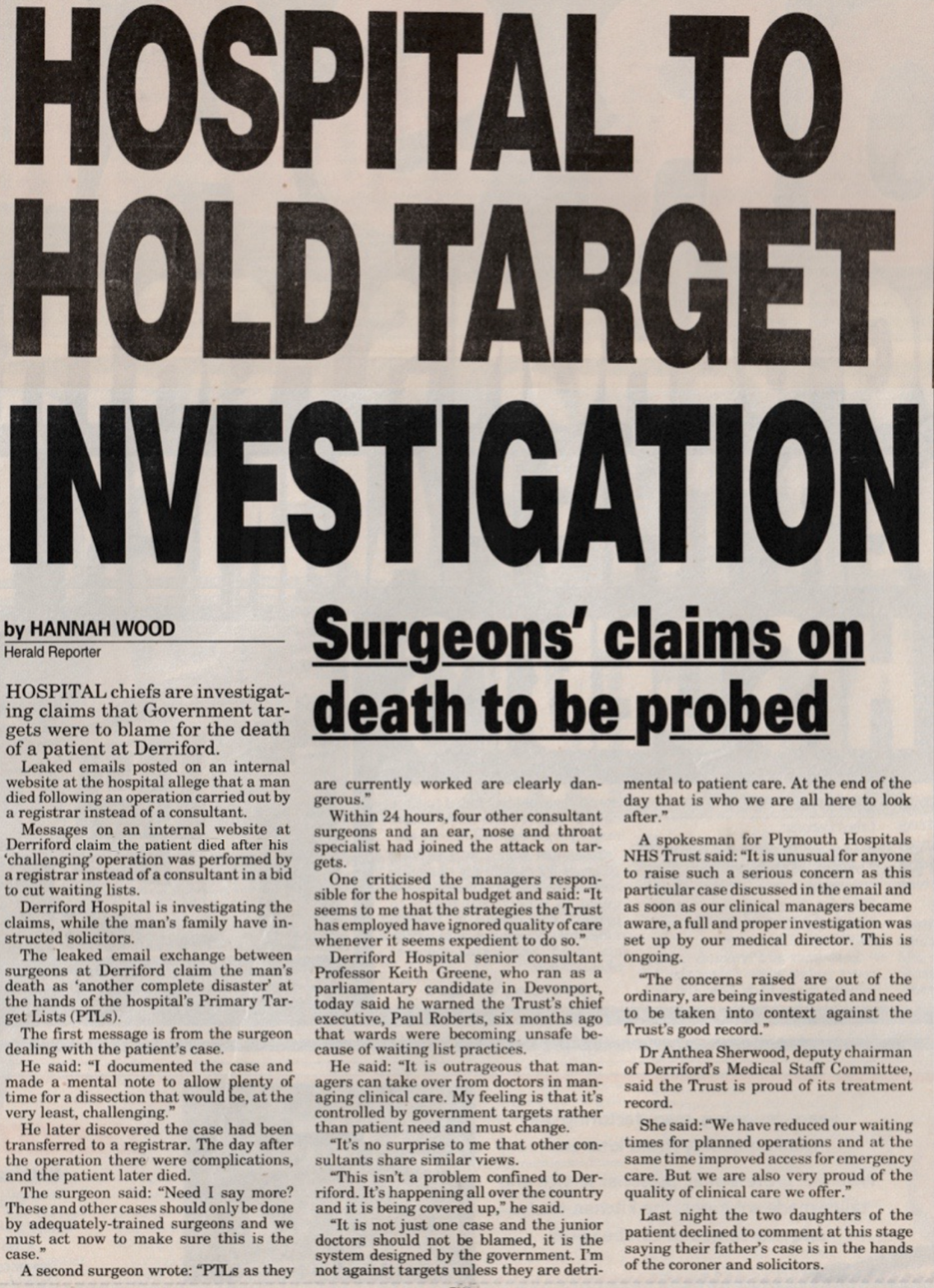 Leaked emails blame government targets for death of patient after surgery.